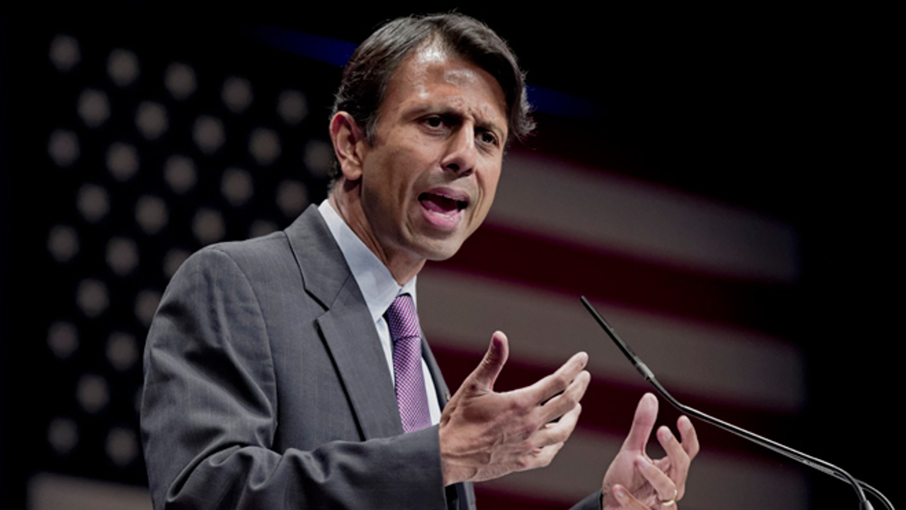 FILE -- Feb. 11, 2012: Republican Gov. Bobby Jindal of Louisiana addresses activists from America's political right at the Conservative Political Action Conference (CPAC) in Washington.