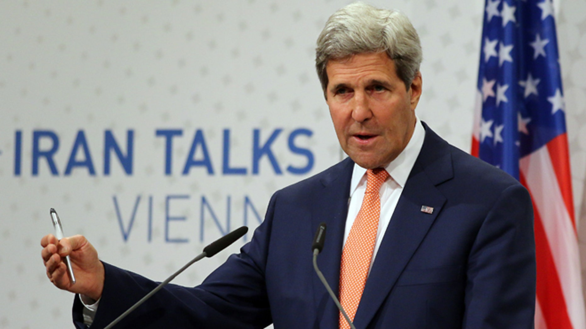 """July 15, 2014: Secretary of State John Kerry speaking to the media after closed-door nuclear talks on Iran in Vienna, Austria. Intense negotiations with Iran have yielded """"tangible progress,"""" U.S. Secretary of State John Kerry said Tuesday, but significant gaps remain ahead of a July 20 target date for a deal meant to put firm curbs on Tehran's nuclear activities in exchange for an end to sanctions."""