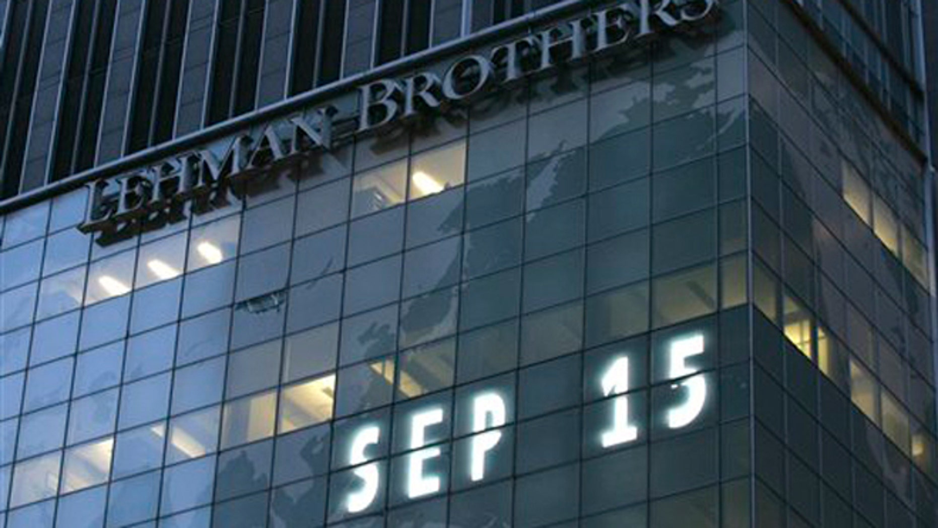 FILE - Sept. 15, 2008: Lehman Brothers world headquarters is shown in New York, the day the 158-year-old investment bank, choked by the credit crisis and falling real estate values, filed for bankruptcy.