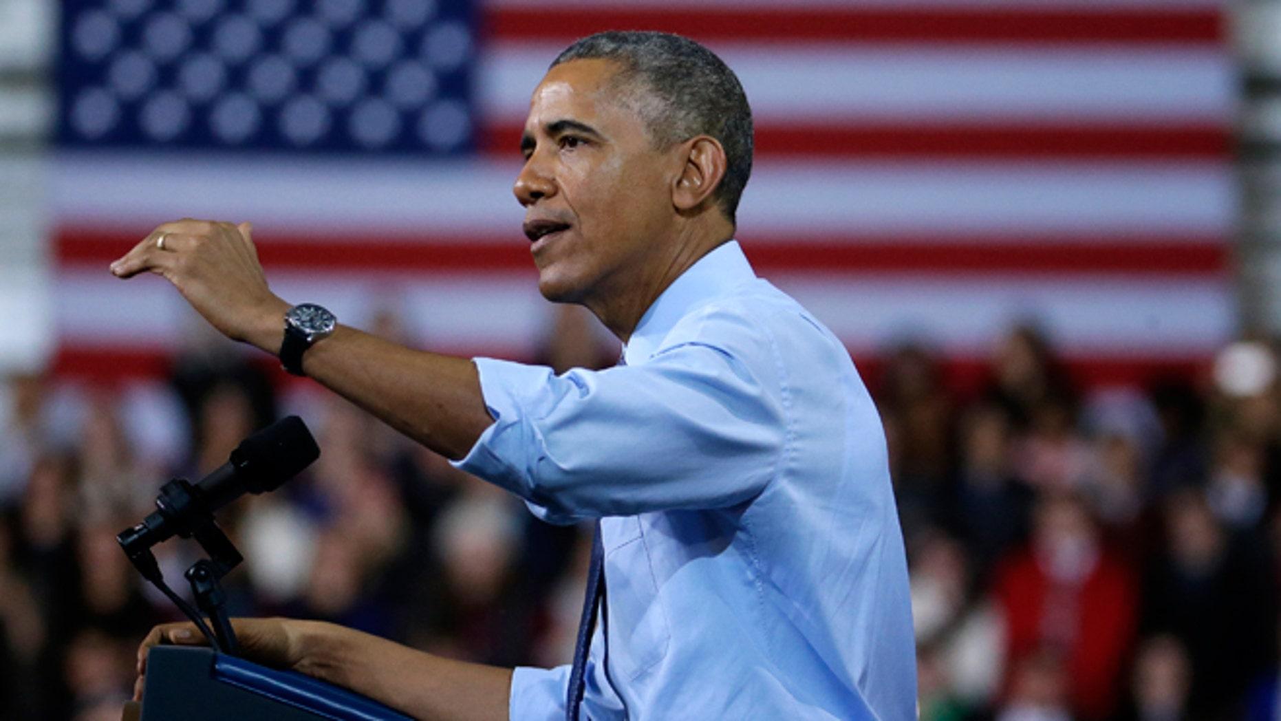 FILE -- Jan. 22, 2015: President Obama speaks during a visit to the University of Kansas in Lawrence, Kansas.
