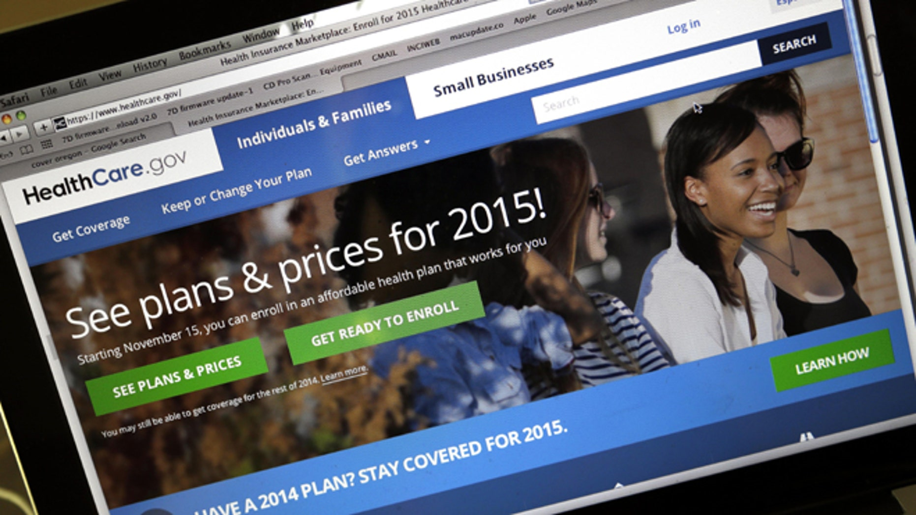 FILE -- Nov. 12, 2014: The HealthCare.gov website, where people can buy health insurance, on a laptop screen in Portland, Ore. The second open enrollment period for buying health insurance under the federal Affordable Care Act began on Saturday, Nov. 15, 2014.