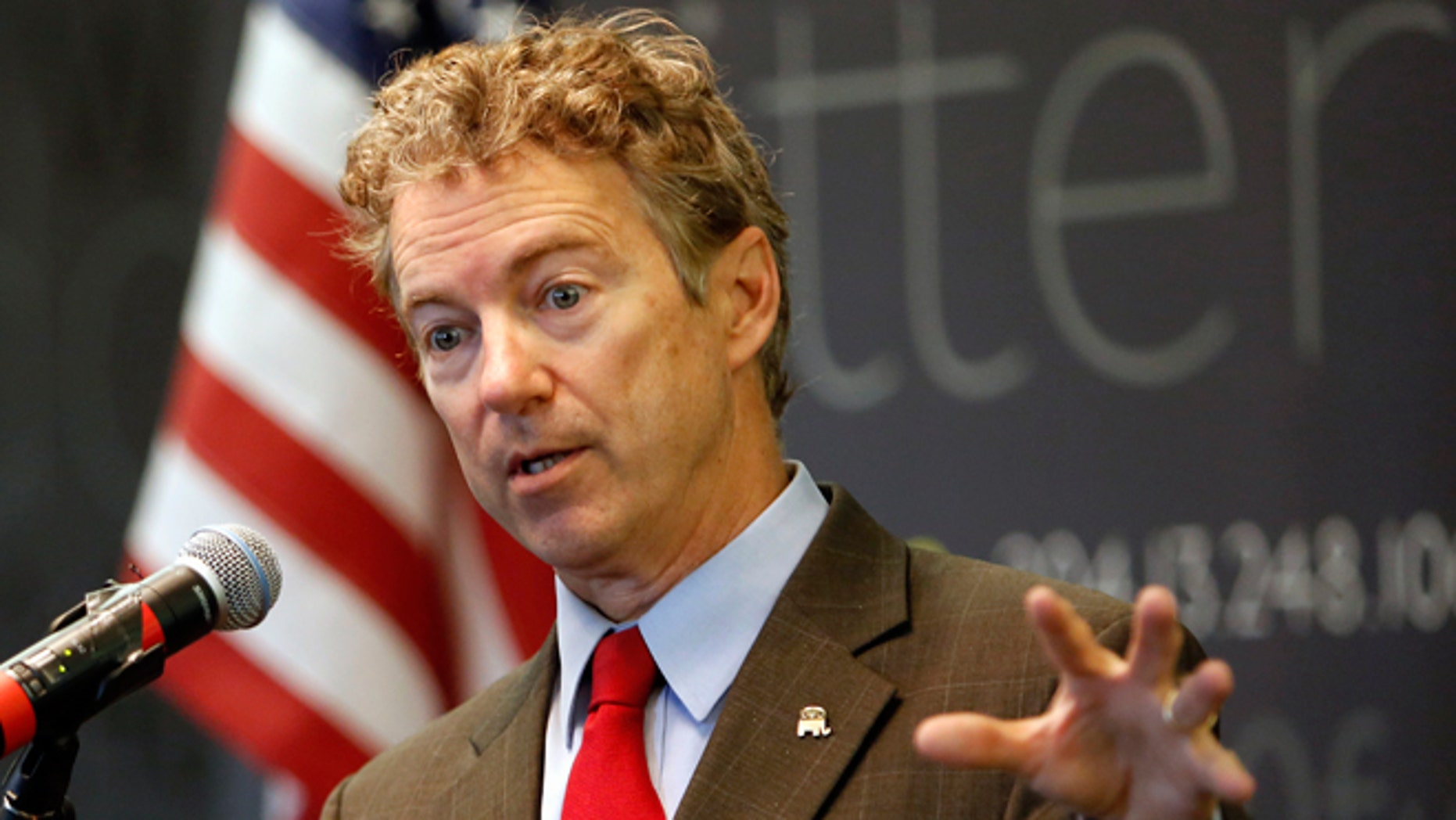 FILE - March 20, 2015: Sen., Rand Paul, R-Ky. speaks in Manchester, N.H.