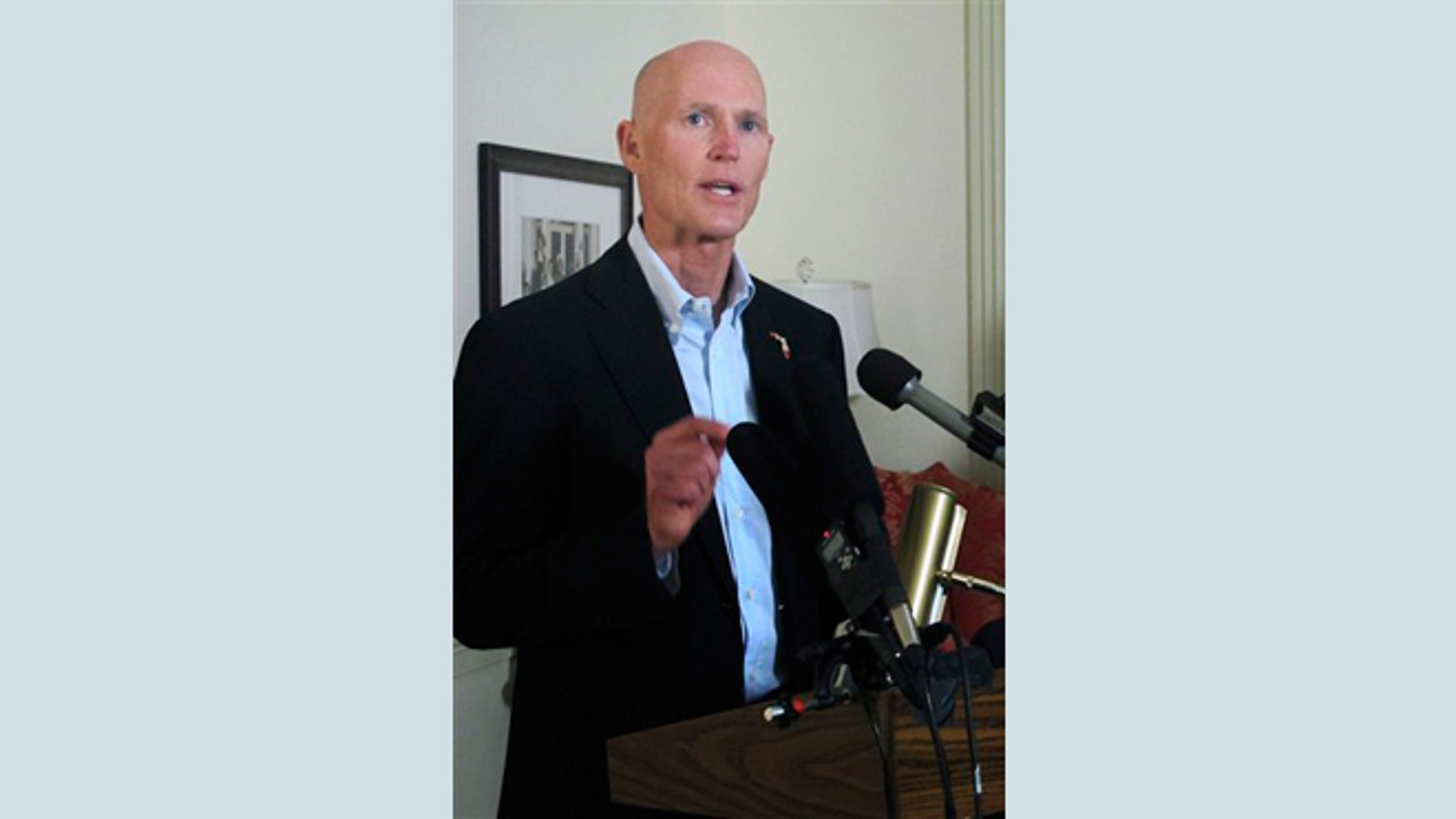 Feb. 20, 2013: Florida Gov. Rick Scott speaks during a press conference in Tallahassee, Fla.