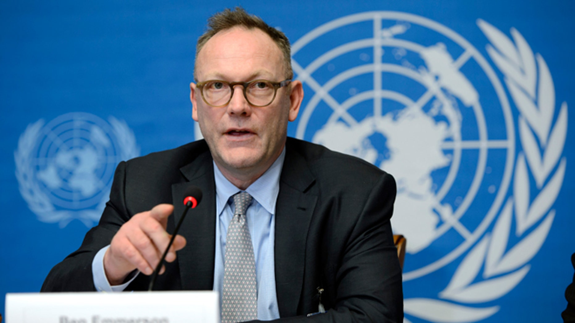 FILE -- March 12, 2014: Ben Emmerson, UN Special Rapporteur on Counter Terrorism and Human Rights speaks during a press conference about his annual report to the Human Rights Council on the use of remotely piloted aircraft, or drones, in extraterritorial lethal counter-terrorism operations, at the European headquarters of the United Nations, in Geneva, Switzerland.
