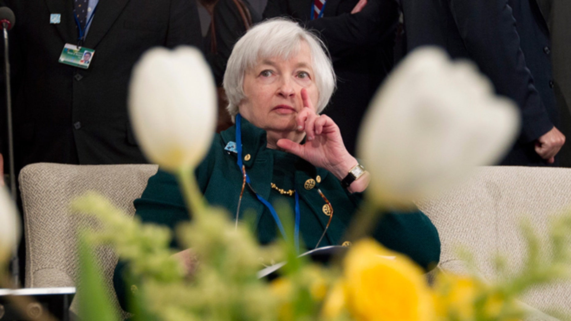 FILE -- April 12, 2014: Federal Reserve Chair Janet Yellen listens during the International Monetary and Financial Committee (IMFC) meeting, at the World Bank Group-International Monetary Fund Spring Meetings in Washington.