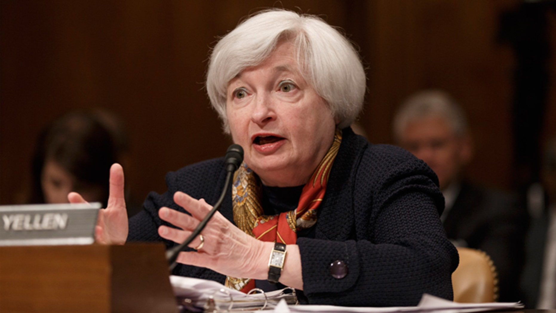 FILE - May 8, 2014:Federal Reserve Chairwoman Janet Yellen appears before the Senate Budget Committee to examine the nation's economic and fiscal outlook, on Capitol Hill in Washington.