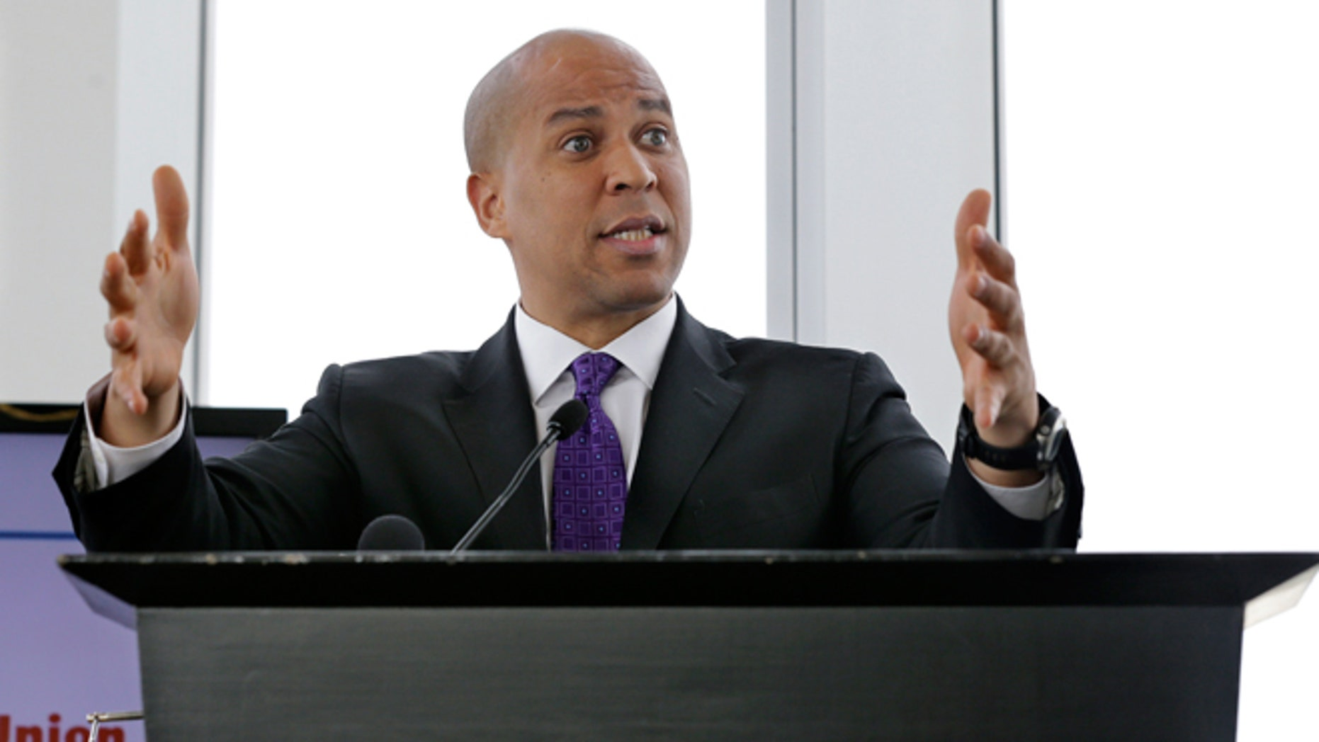 Oct. 20, 2014: United States Sen. Cory Booker addresses a gathering at Kean University in Union, N.J. Booker will face Republican Senate candidate Jeff Bell in the November election.