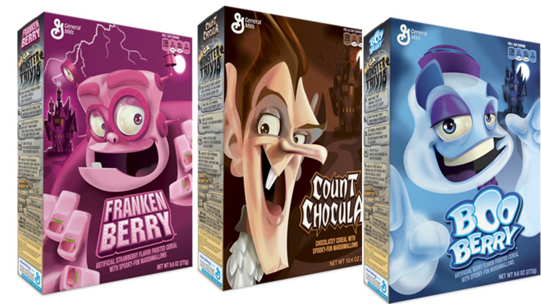 Franken Berry, Count Chocula and Boo Berry cereals