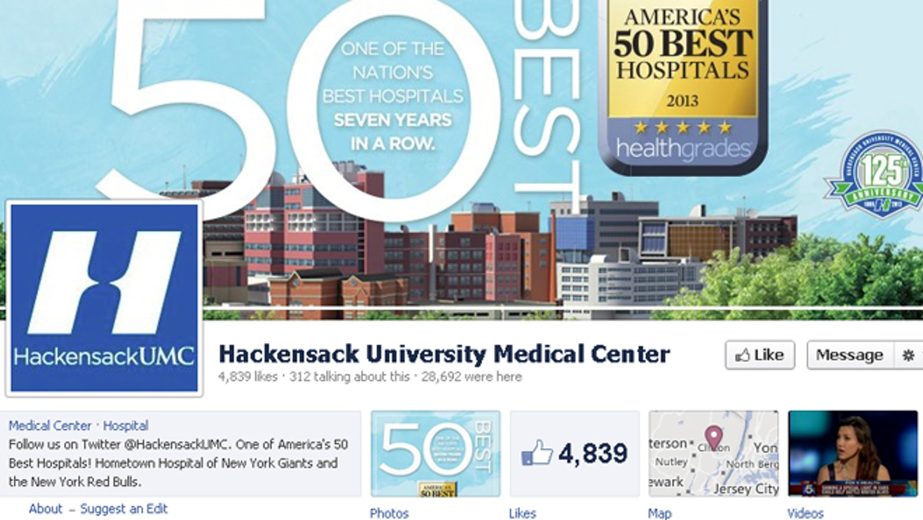 Hackensack University Medical Center's Facebook page, which shows the amount of 'likes' it has. Incidentally, the hospital has a lower mortality rate.