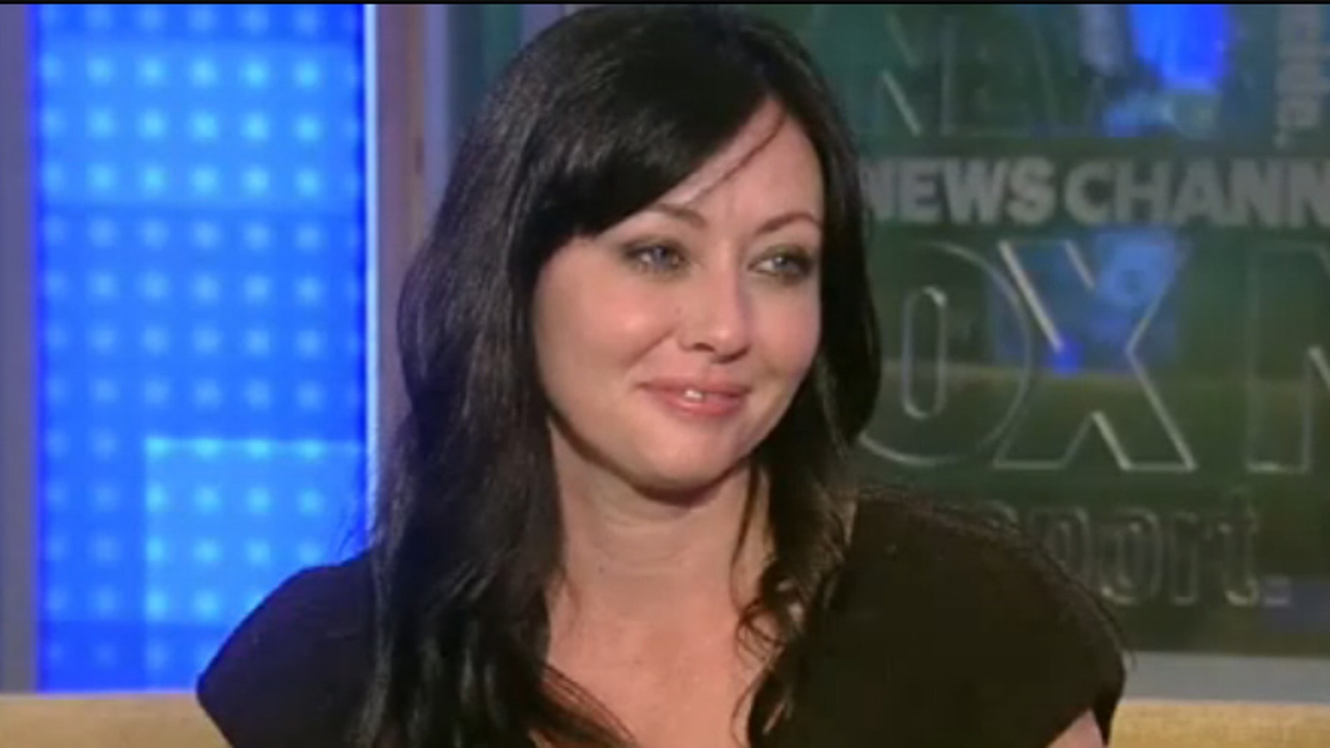 Shannen Doherty on the set of 'Fox and Friends.'