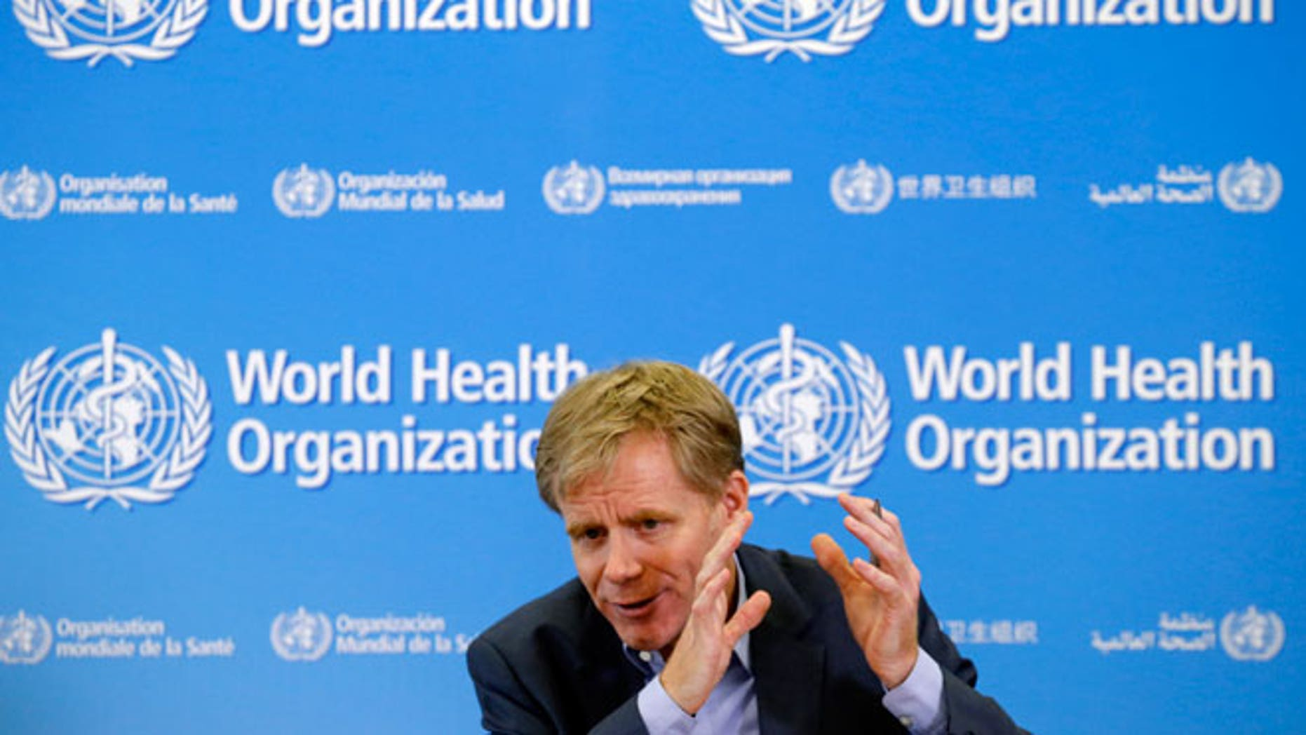 WHO Assistant Director General Bruce Aylward gestures during a news conference at the organization's headquarters in Geneva Oct. 29, 2014.