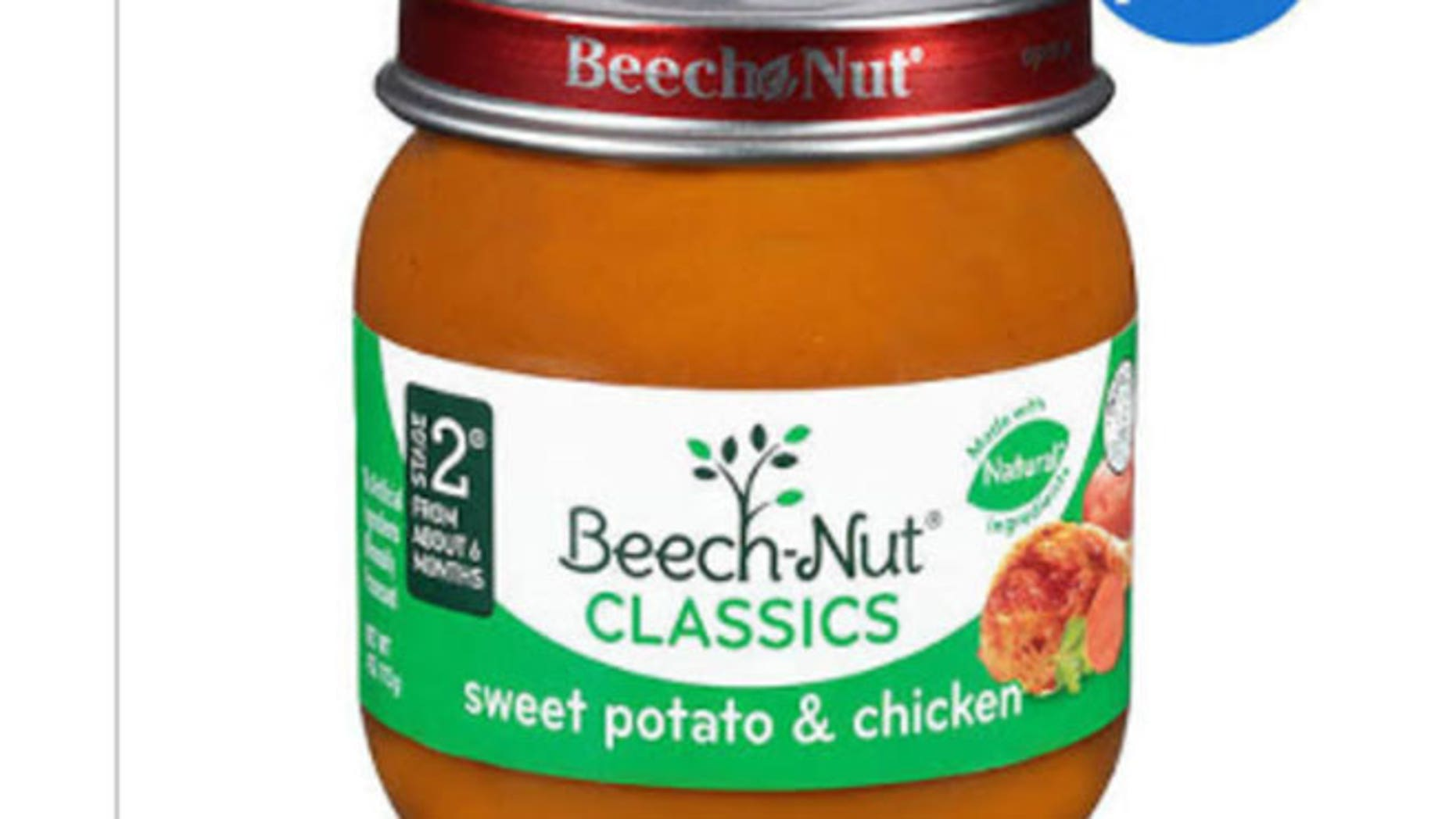 """Four-ounce glass jars labeled """"Stage 2 Beech-Nut CLASSICS sweet potato & chicken"""" is the variety at risk of contamination. The potentially affected products were produced Dec. 12, 2014 and expire in December 2016."""