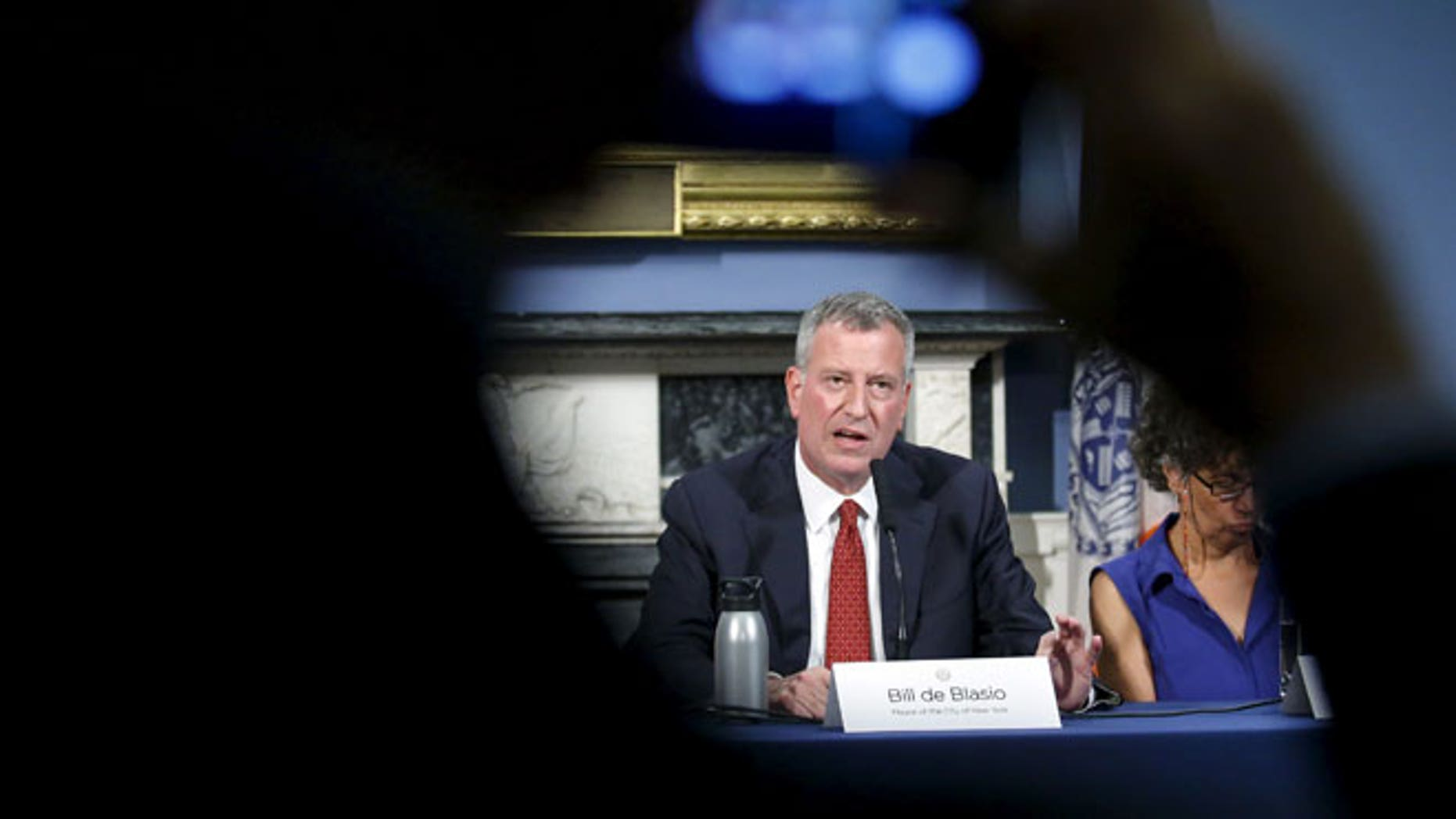 New York City Mayor Bill de Blasio speaks to the media during a news conference to introduce legislation intended to reduce the risk of Legionnaires' disease in New York August 10, 2015.