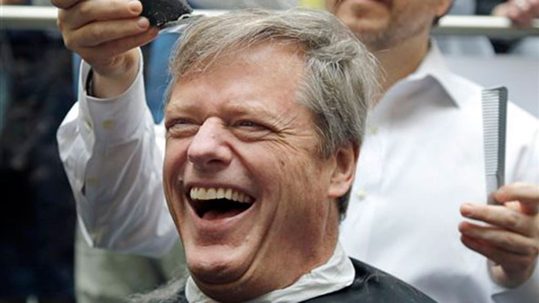 Massachusetts Gov. Charlie Baker reacts as he gets a buzz cut during a fundraising drive at Granite Telecommunications in Quincy, Mass., Tuesday, April 7, 2015, in support of the Dana-Farber Cancer Institute.