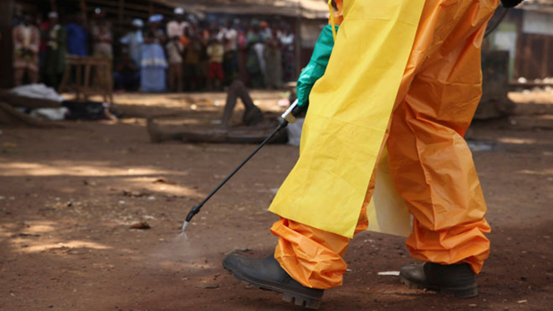 A member of the French Red Cross disinfects the area around a motionless person suspected of carrying the Ebola virus as a crowd gathers in Forecariah January 30, 2015. Health officials botched more than 20 Ebola blood tests in January and February which led to the release of at least four positive patients, two of whom later died, Guinea's anti-Ebola coordinator and other health officials told Reuters.