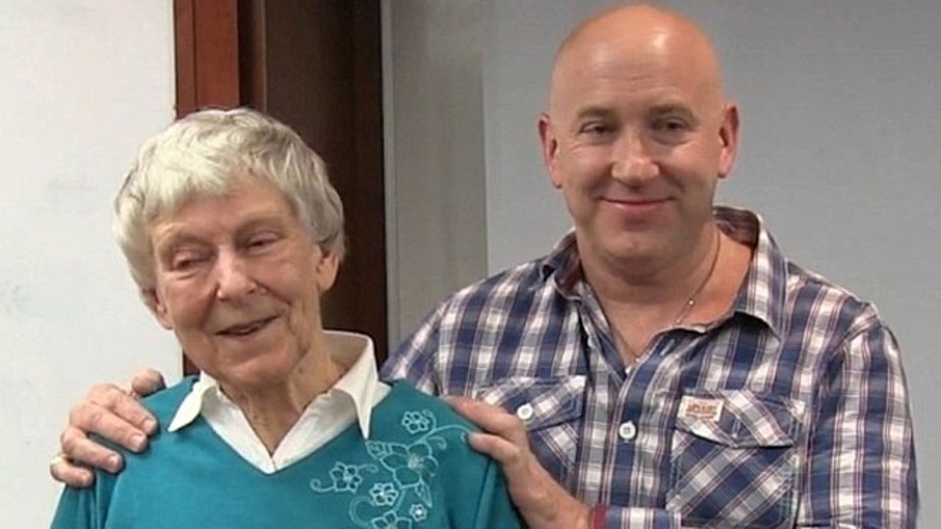 Mary Steward, 81 (left), pictured with Rob Kelly (right), founder of The Thrive Programme. Steward found Kelly's book online and credits it to her success in warding off emetophobia.