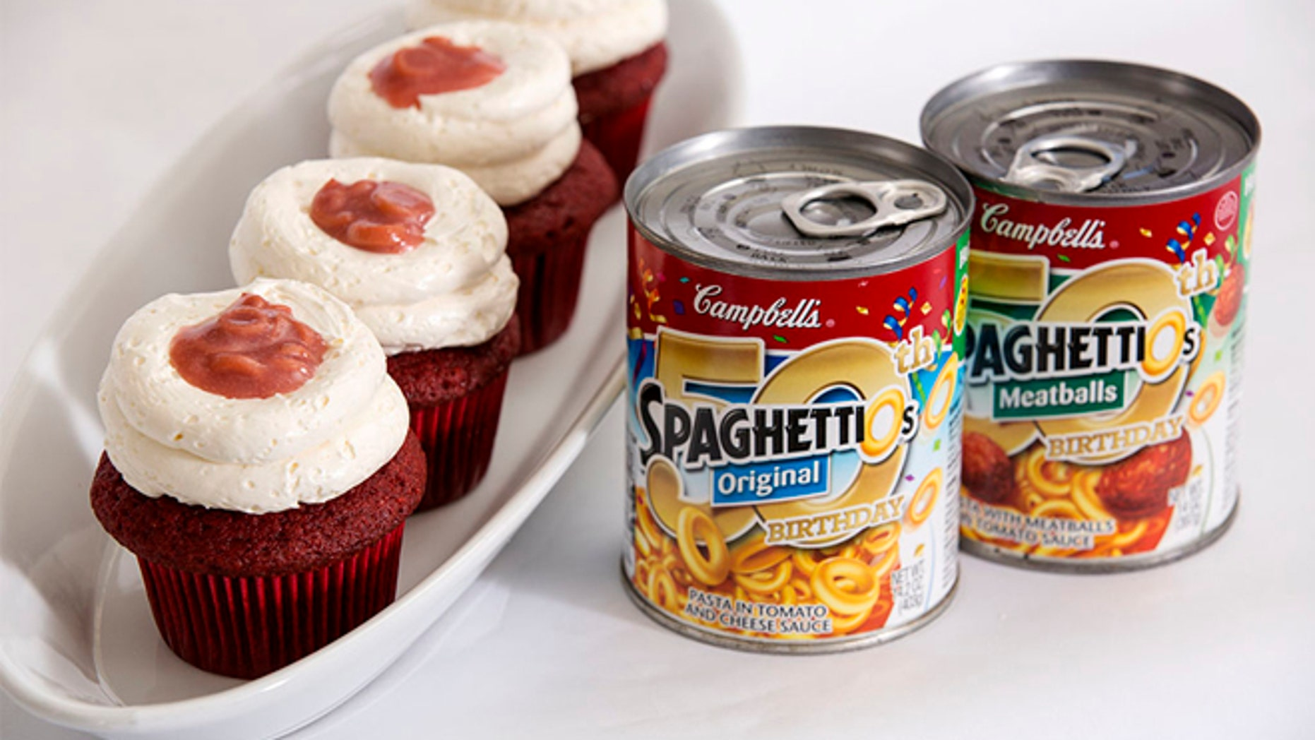 Those are real pasta rings on that cupcake.