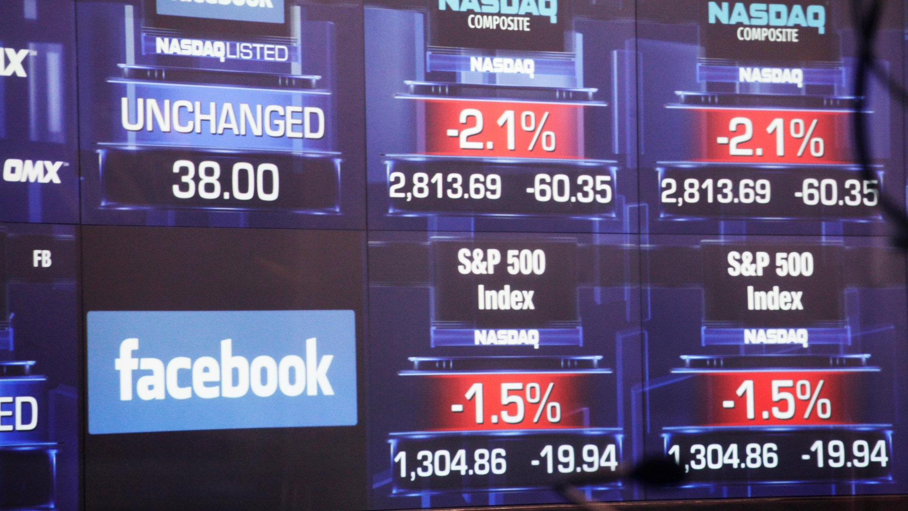 May 18, 2012: Electronic screens inside the Nasdaq stock market announce the listing of Facebook shares before the start of trading in New York.