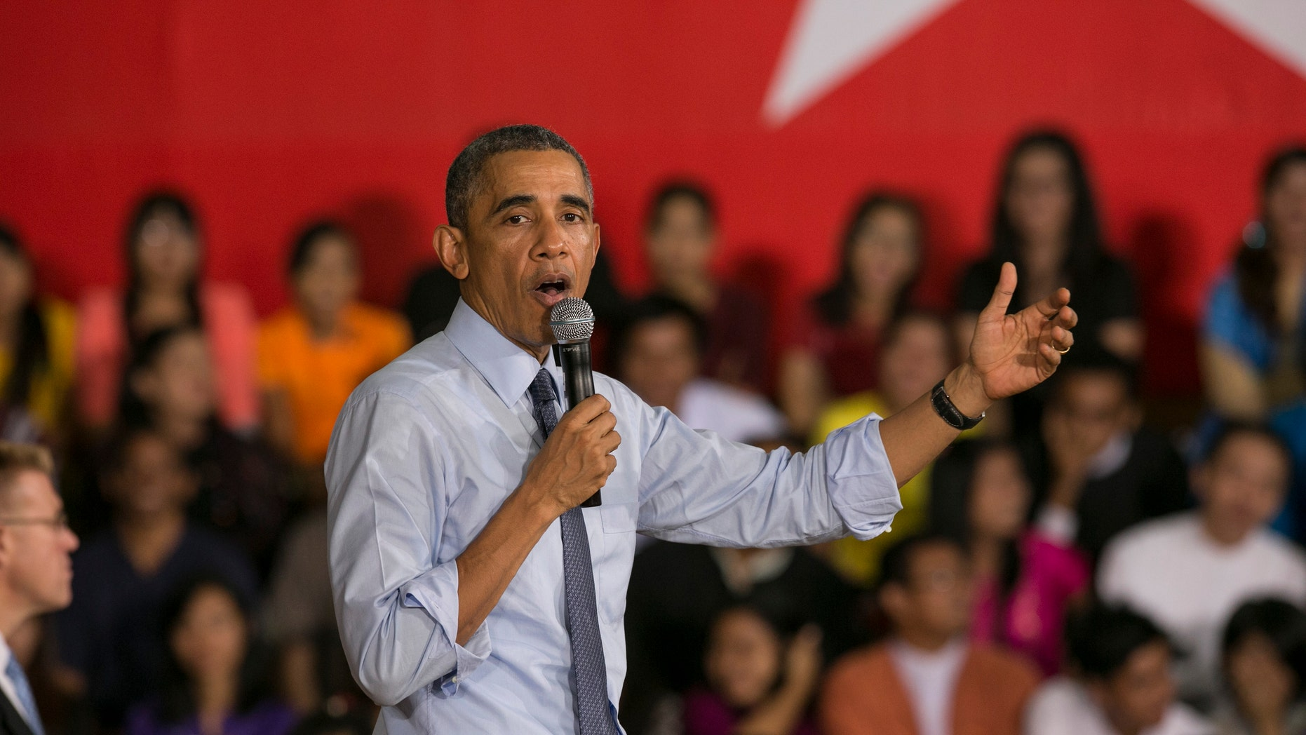 YANGON, BURMA - NOVEMBER 14: U.S President Barak Obama speaks to students after a Young Southeast Asian Leaders Initiative (YSEALI) Town Hall meeting on November 14, 2014 in Yangon, Burma. Obama spends one day in Yangon speaking at Yangon University and meeting with Aung San Suu Kyi before departing to Australia for the G20 Summit this evening. (Photo by Paula Bronstein/Getty Images)