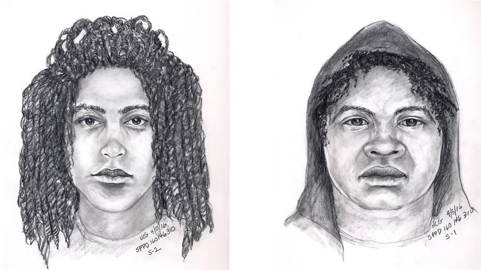These April 5, 2016, police sketches provided by San Francisco Police Department shows two robbery suspects involved in a fatal attack in Feb. 18, 2016, in San Francisco. Police released the sketches Monday, April 11, of a couple they say attacked British tourist 48-year-old Paul Tam, of Manchester, near San Francisco's Cathedral. Police have yet to make an arrest in the attack, which is now being investigated as a homicide. (San Francisco Police Department via AP)