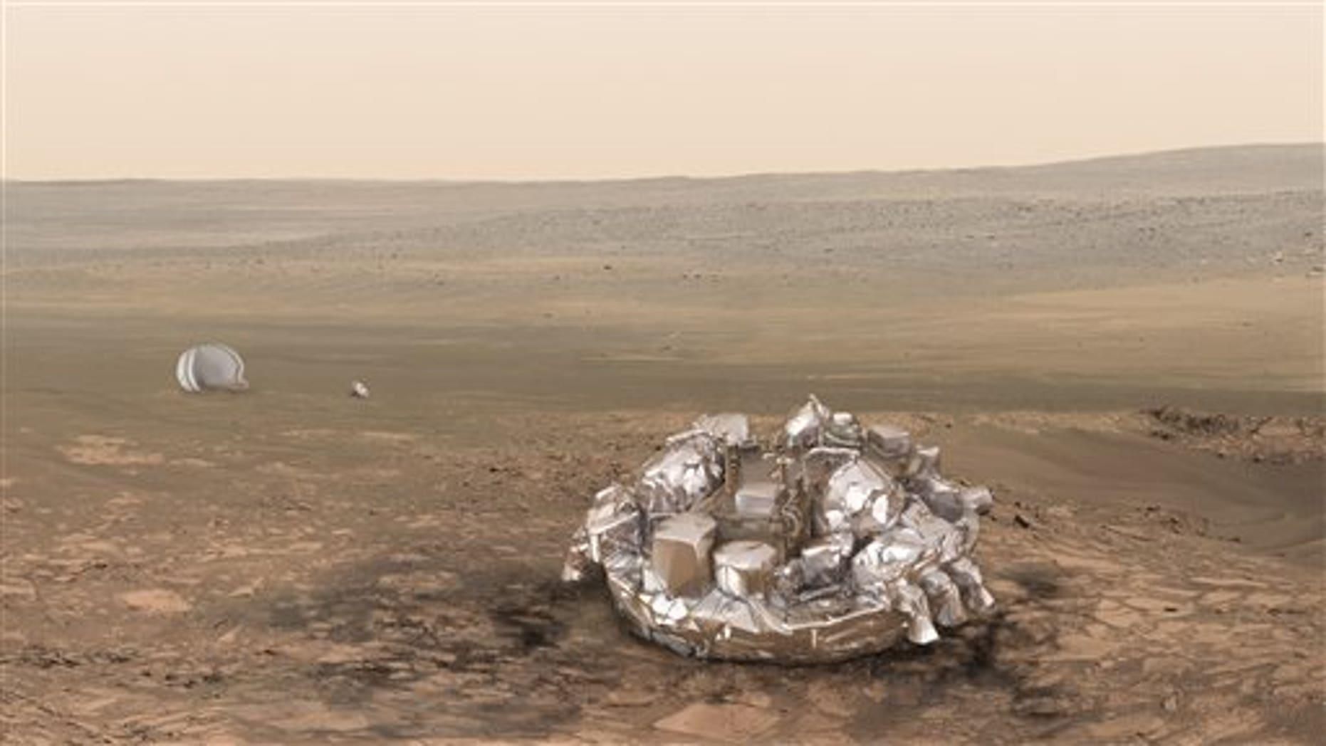 Artist impression of the Schiaparelli module on the surface of Mars provided by the European Space Agency, ESA.