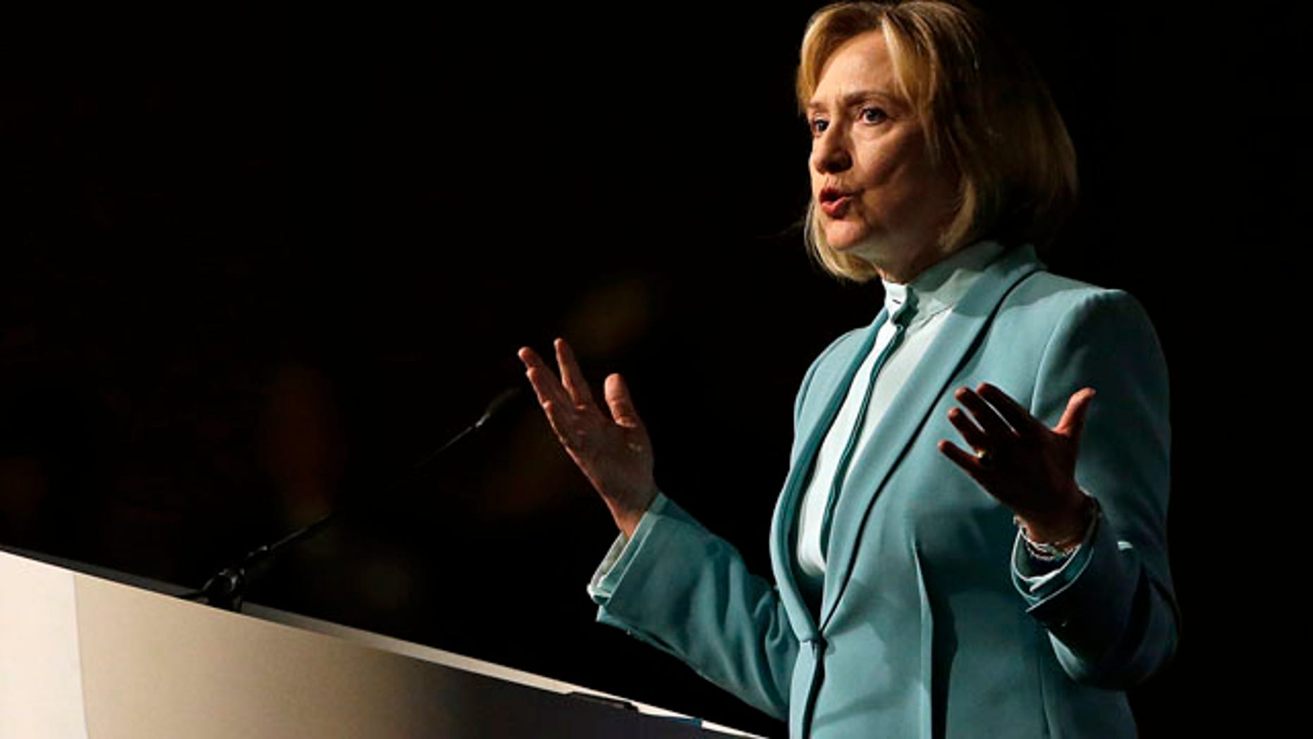 FILE: Aug. 12, 2013: Former Secretary of State Hillary Clinton speaks to the American Bar Association Annual Meeting, in San Francisco, Calif.