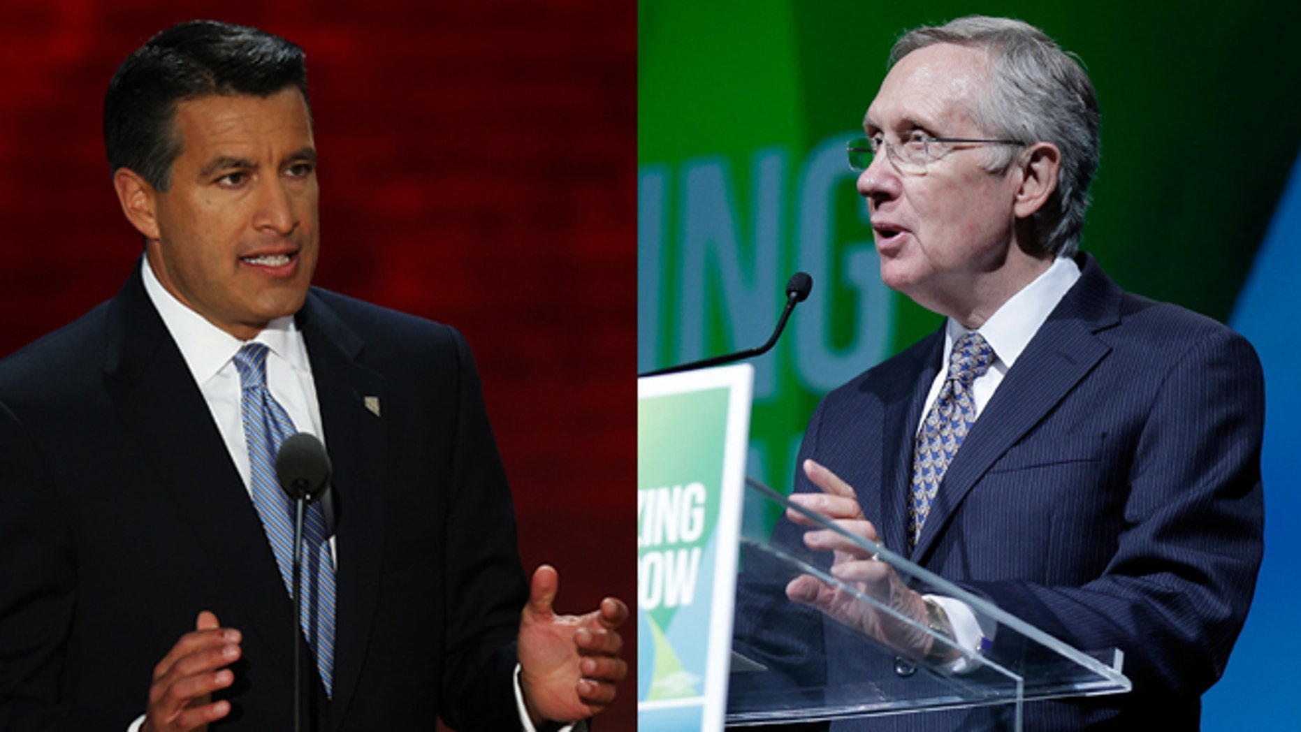 Nevada Gov. Brian Sandoval (left) and U.S. Sen. Harry Reid (right). (Photos: Getty Images)