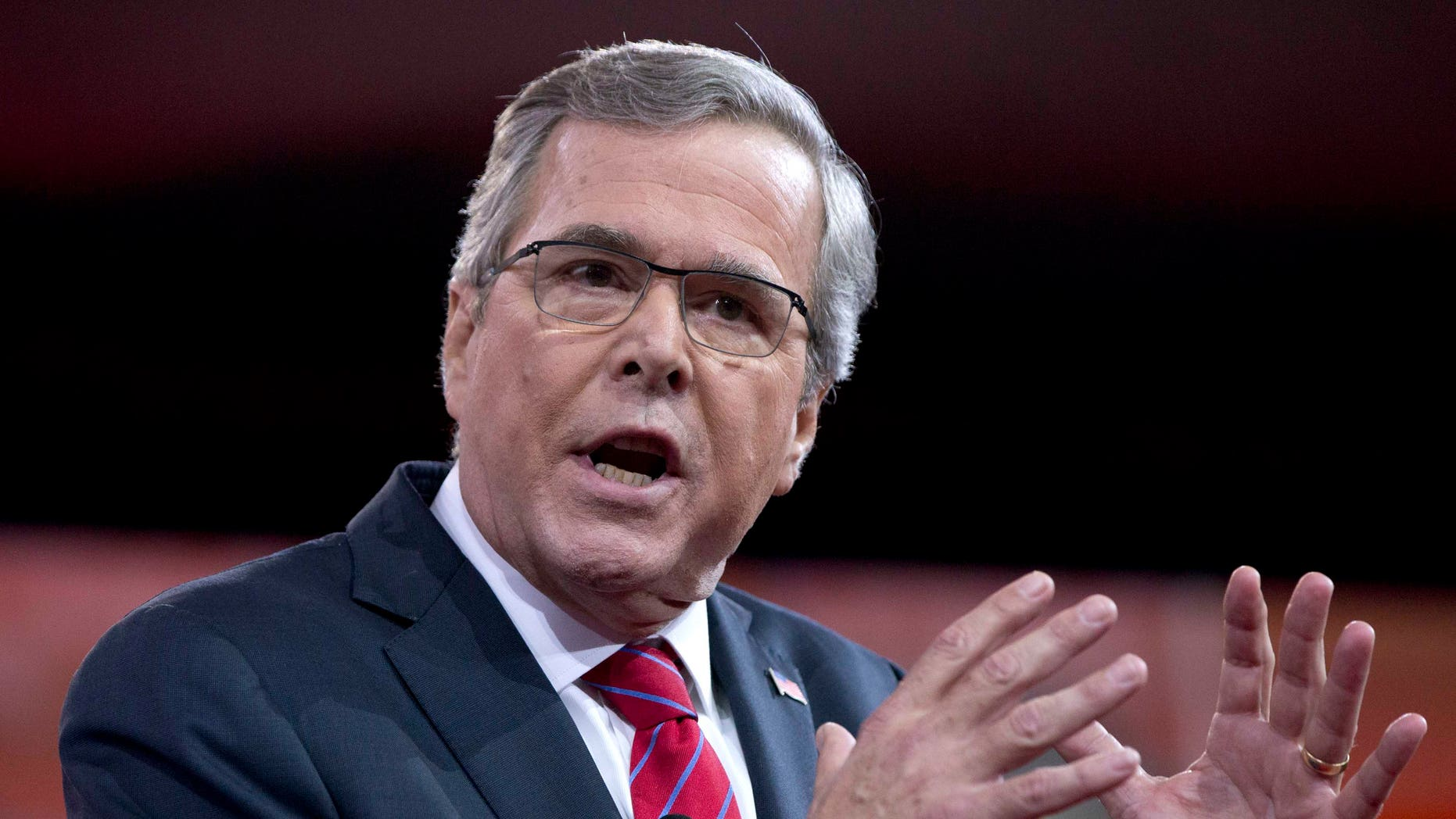 Former Florida Gov. Jeb Bush speaks during the Conservative Political Action Conference (CPAC) in National Harbor, Md., Friday, Feb. 27, 2015. (AP Photo/Carolyn Kaster)