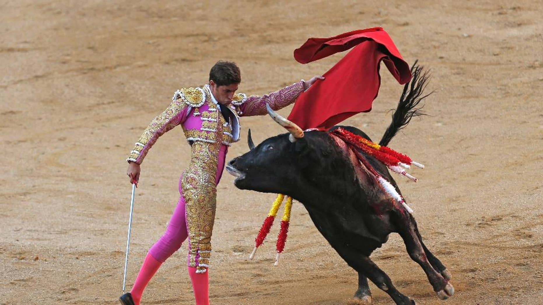 FILE - In a Sunday, Oct. 9, 2016 file photo, Spanish bullfighter Mario Palacios performs with an Aguadulce ranch fighting bull during a bullfight at the Las Ventas bullring in Madrid, Spain.  Spain's top court on Thursday, Oct. 20, 2016 overruled a local ban against bullfighting in the powerful northeastern region of Catalonia, saying it violated a national law protecting the spectacle. (AP Photo/Francisco Seco, File)