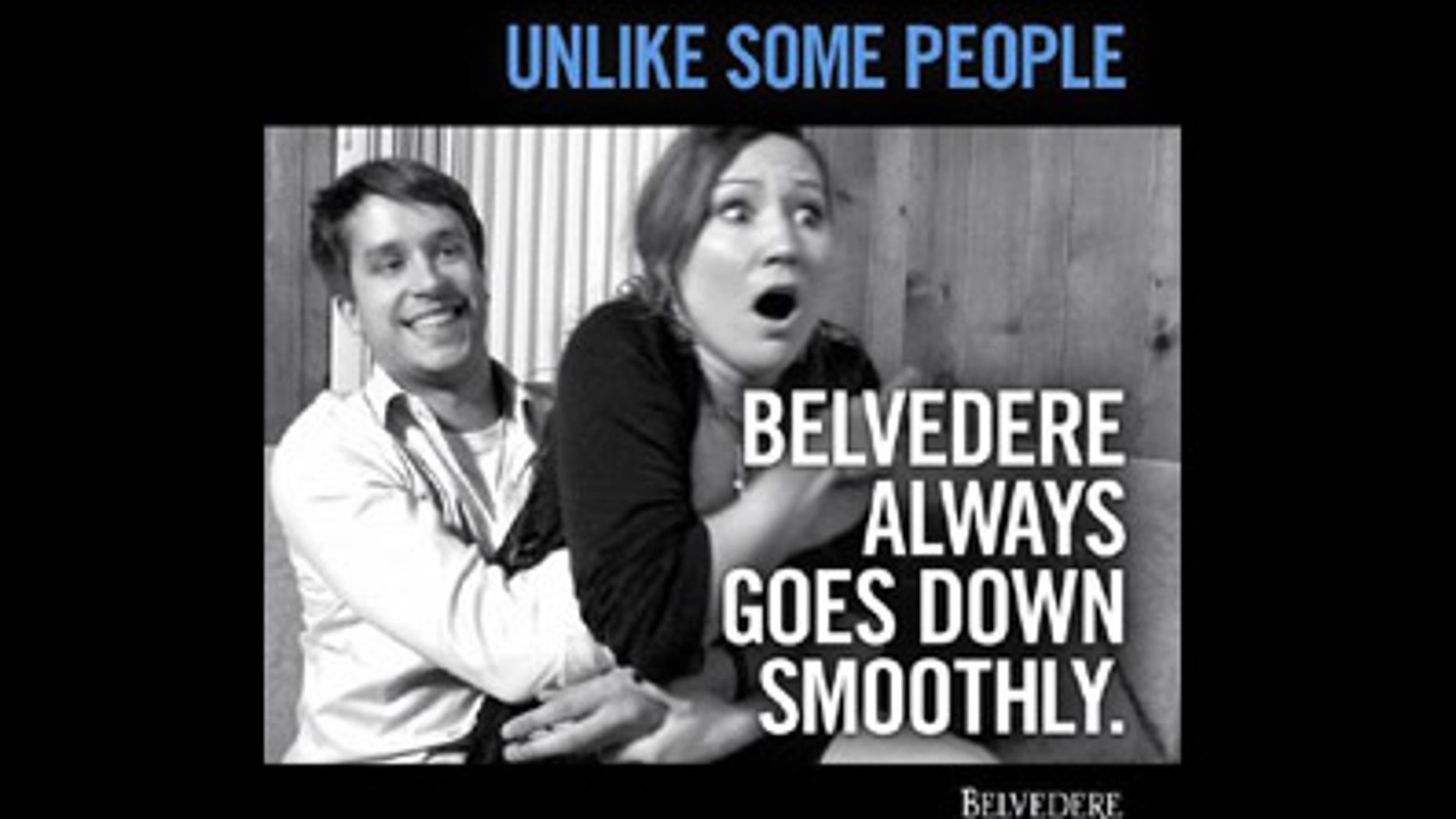 The suggestive ad caused an uproar after being posted on Belvedere Vodka's Twitter and Facebook pages on Friday