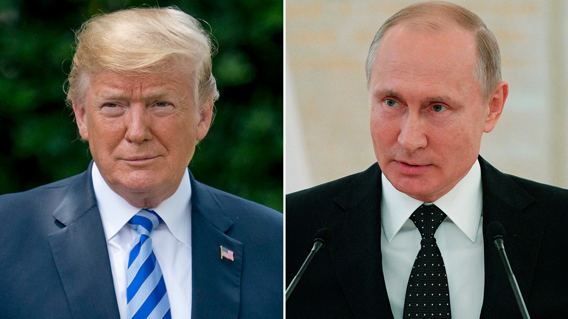 President Trump, left, is slated to meet with Russian President Vladimir Putin, right, next Monday.