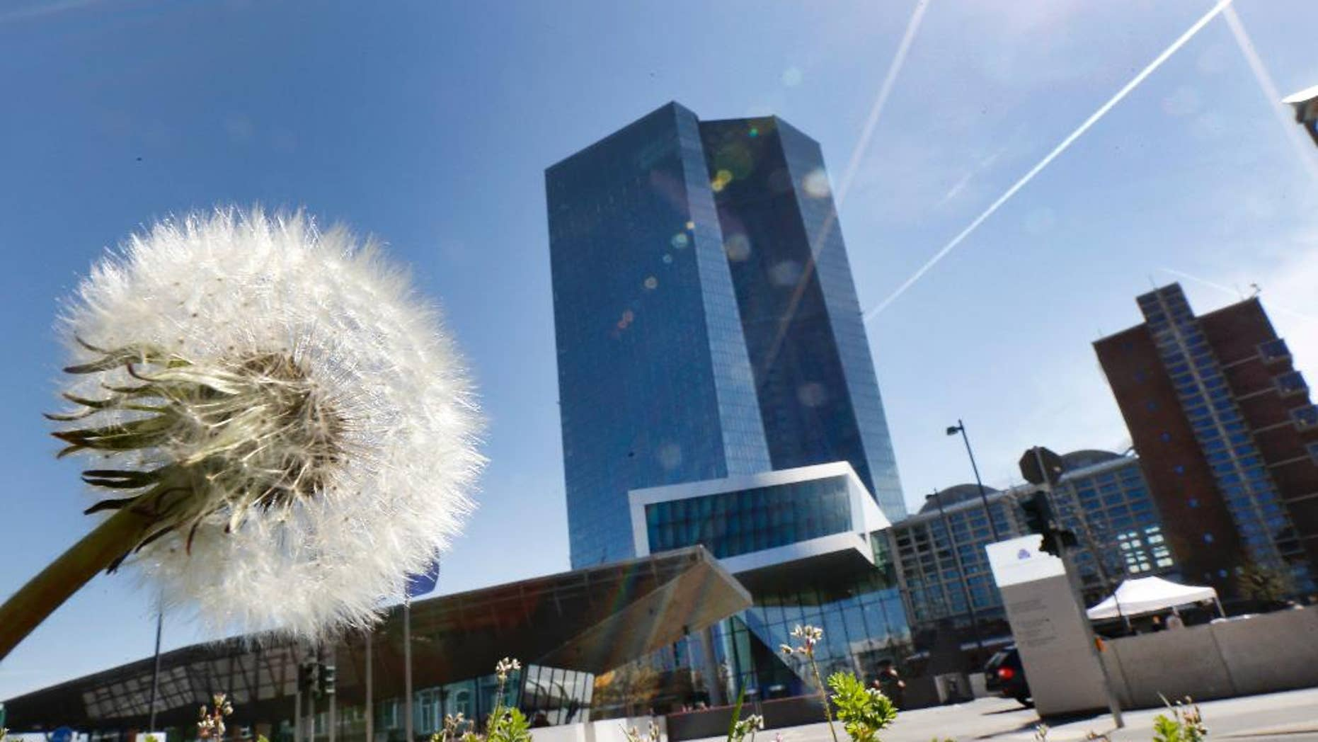A dandelion stands in front of the headquarters of the European Central Bank in Frankfurt, Germany, Thursday, April 21, 2016. The governing council of the ECB meets on Thursday. (AP Photo/Michael Probst)