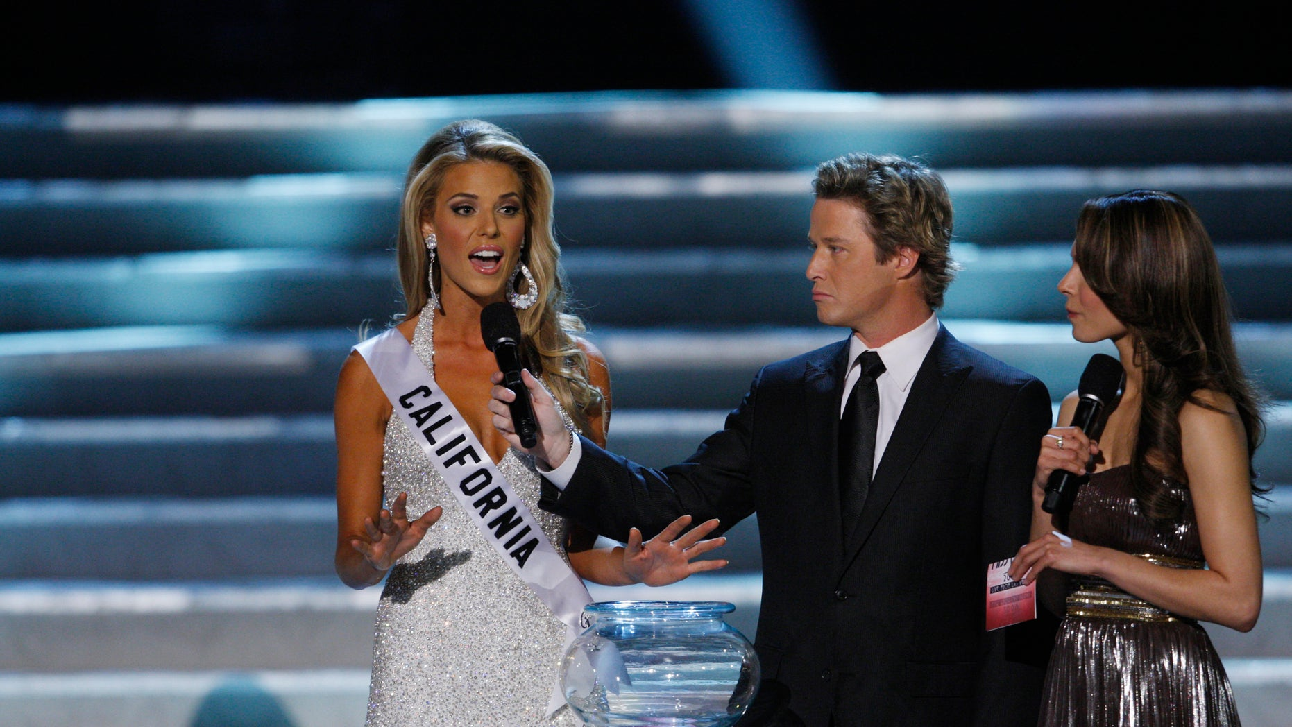 Miss California Carrie Prejean responds to a question about gay marriage