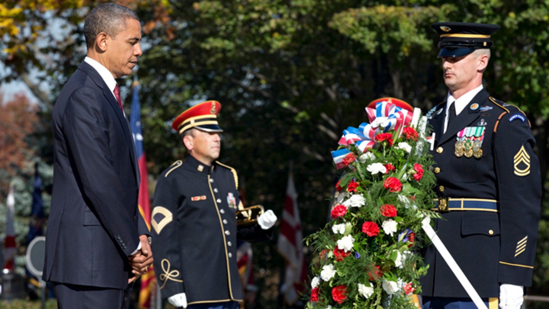 President Obama presenting a wreath at the Tomb of the Unknowns at Arlington National Cemetery during a Veterans Day ceremony in Arlington, Va., in 2012.