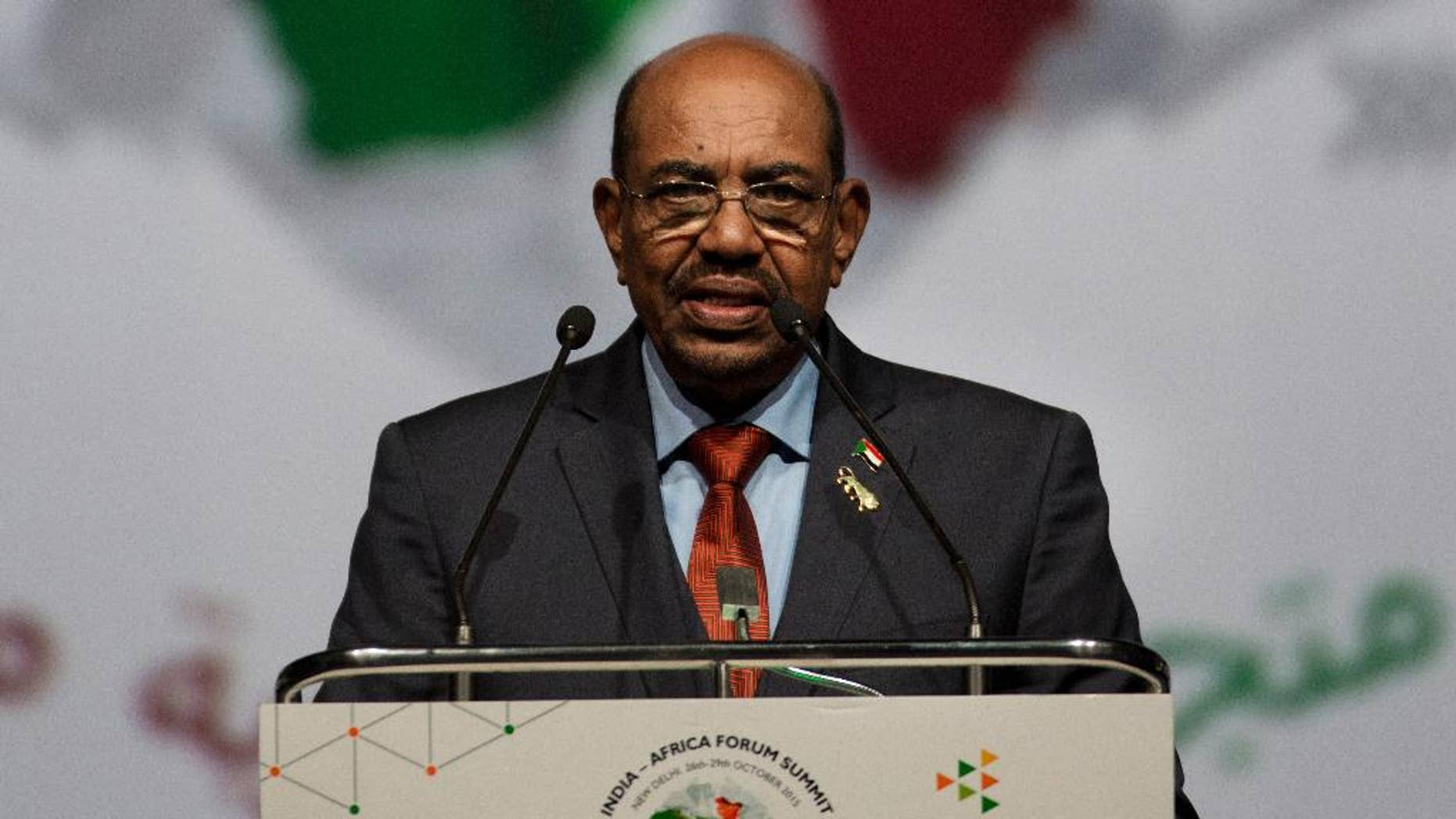 FILE - In this Oct. 29, 2015 file photo, Sudanese President Omar al-Bashir speaks in New Delhi, India. The Obama administration, which has negotiated new relationships with states like Cuba, Iran and Myanmar, is now eyeing a rapprochement with Sudan, a nation that has long been designated a state sponsor of terrorism and whose current leader has been indicted on war crimes charges.  (AP Photo/Bernat Armangue, File)