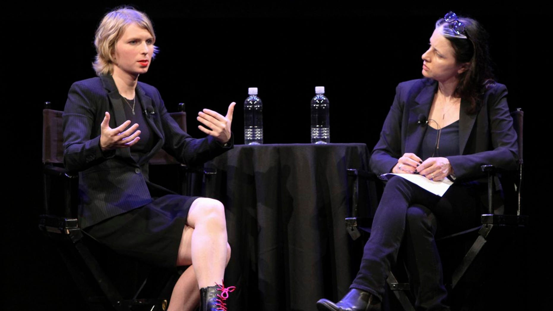 Oct 8: Chelsea Manning, left, speaks to New Yorker writer Larissa MacFarquhar during an appearance at the New Yorker Festival in New York