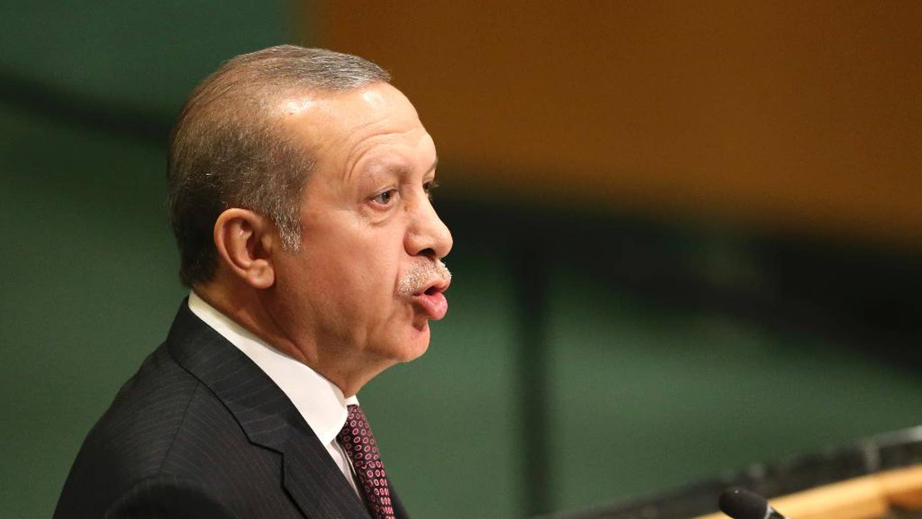 Recep Tayyip Erdogan, President of Turkey, speaks during the 71st session of the United Nations General Assembly at U.N. headquarters, Tuesday, Sept. 20, 2016. (AP Photo/Seth Wenig)