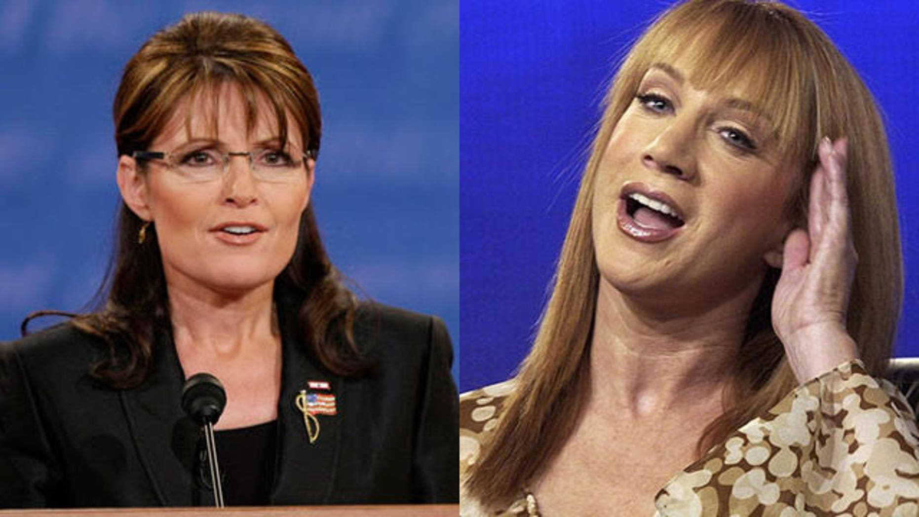 Sarah Palin (l) says comedienne Kathy Griffin is a '50-year-old bully' (AP).