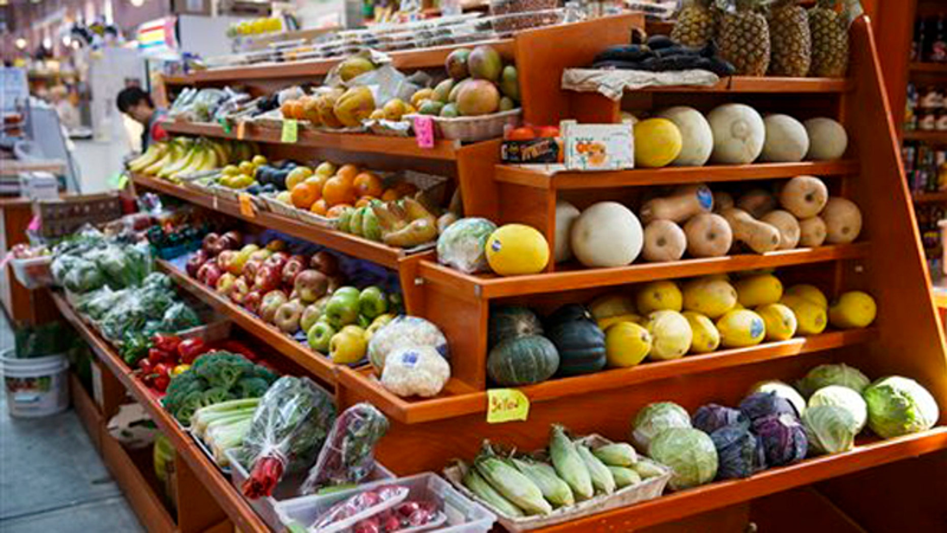 FOR RELEASE MONDAY, SEPT. 1, 2014, AT 4 P.M.- FILE - In this April 24, 2014 file photo, a variety of healthy fruits and vegetables are displayed for sale at a market in Washington. A 12-year study released Monday, Sept. 1, 2014, shows a steady improvement in American's eating habits, but food choices remain less than ideal. (AP Photo/J. Scott Applewhite, File)