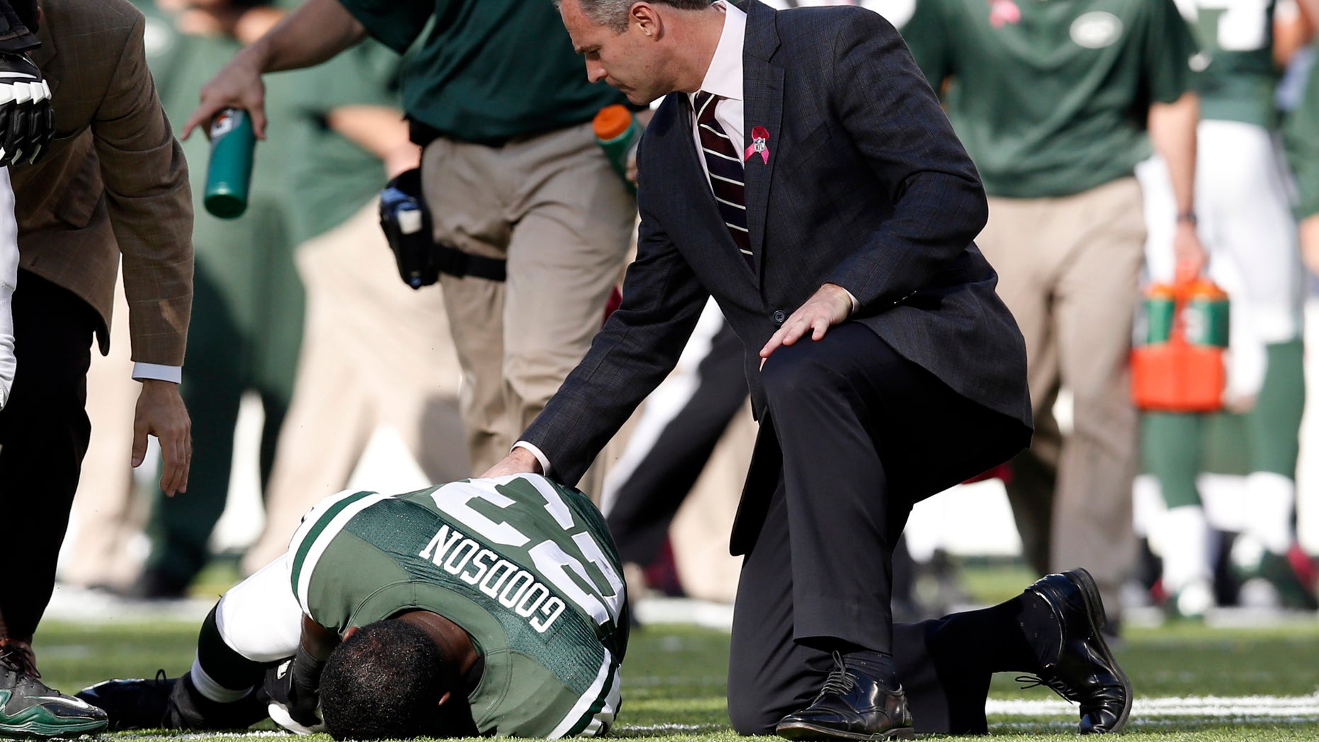 New York Jets' Mike Goodson (23) is tended to after being injured on a play during the second half of an NFL football game against the Pittsburgh Steelers, Sunday, Oct. 13, 2013, in East Rutherford, N.J. The Steelers won 19-6. (AP Photo/Kathy Willens)
