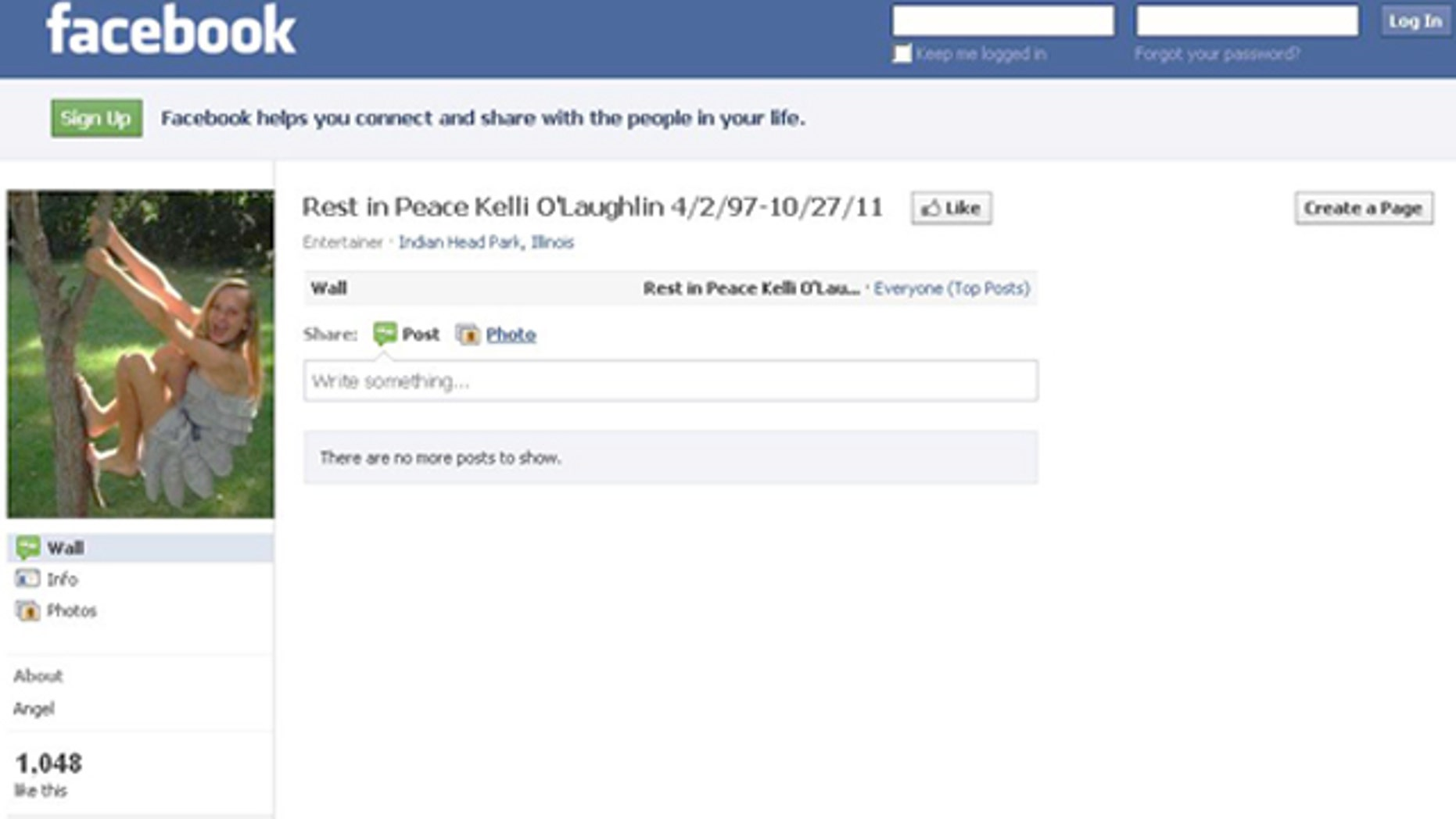 Facebook tribute pages to Kelli O'Lauglin have been increasing in number since the news of the teen's death.