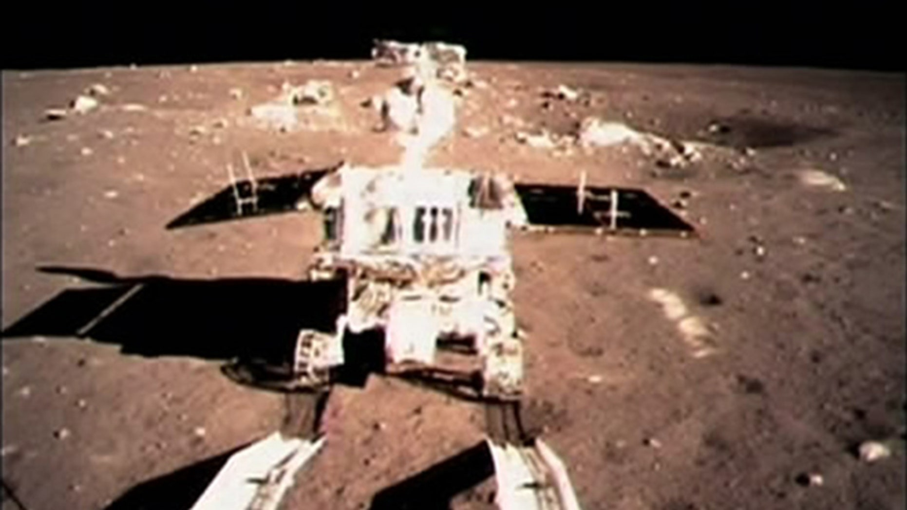 """Dec. 15, 2013: China's first moon rover """"Jade Rabbit"""" touches the lunar surface. Fans of China's Jade Rabbit moon rover sent Lunar New Year greetings to the robot on Friday, Jan. 31, 2014 -- but they'll have to wait for an answer."""