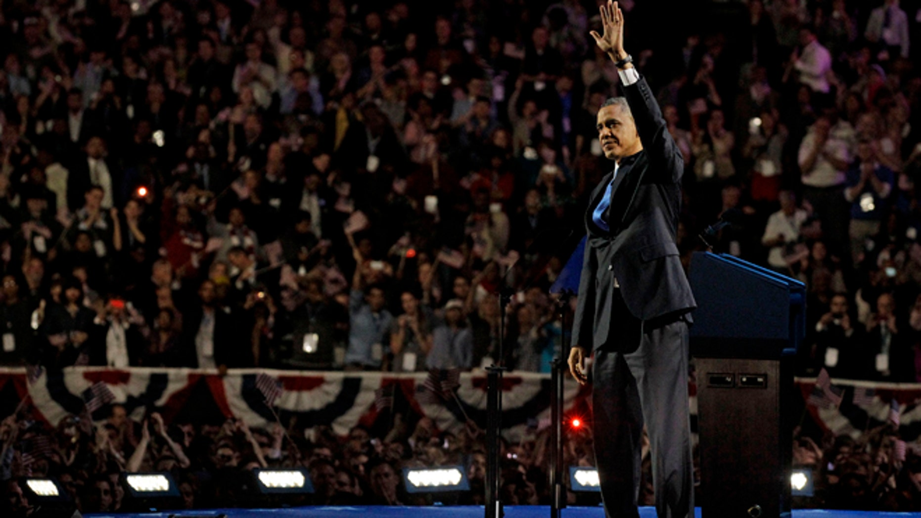 Nov. 7, 2012: President Barack Obama waves to the crowd at his election night party.