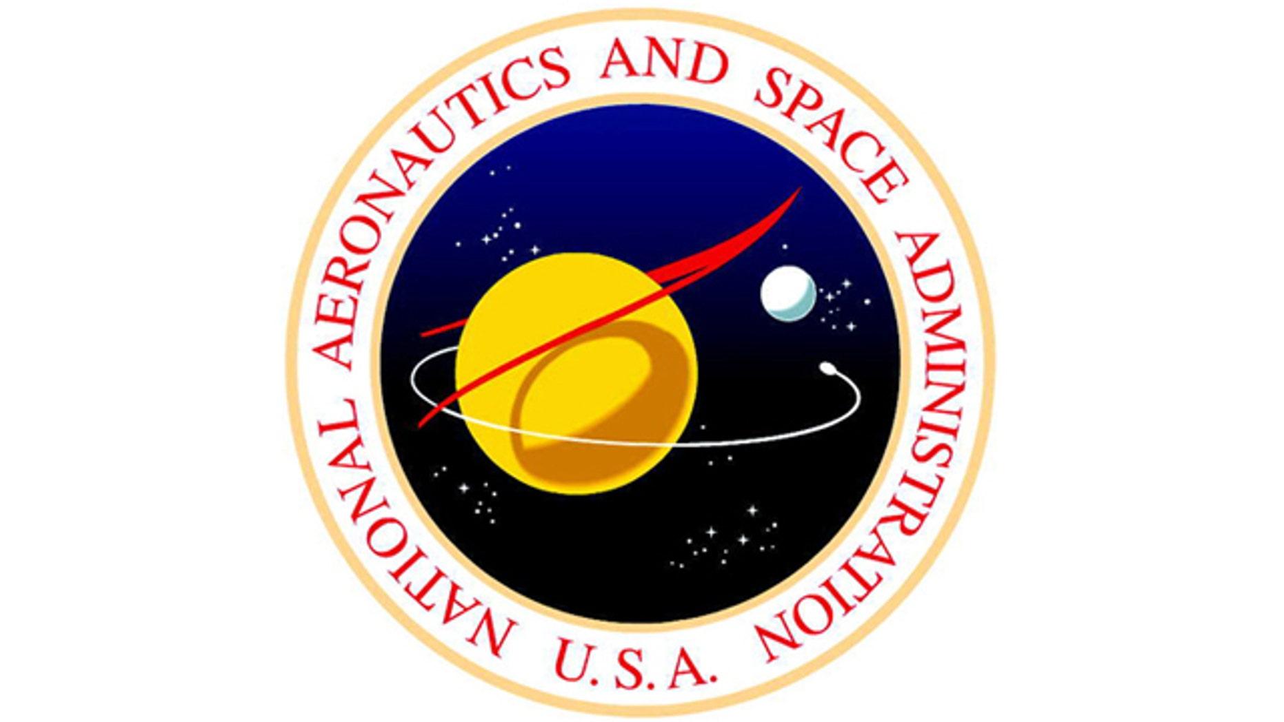 A vintage logo for NASA, the National Aeronautics and Space Administration.