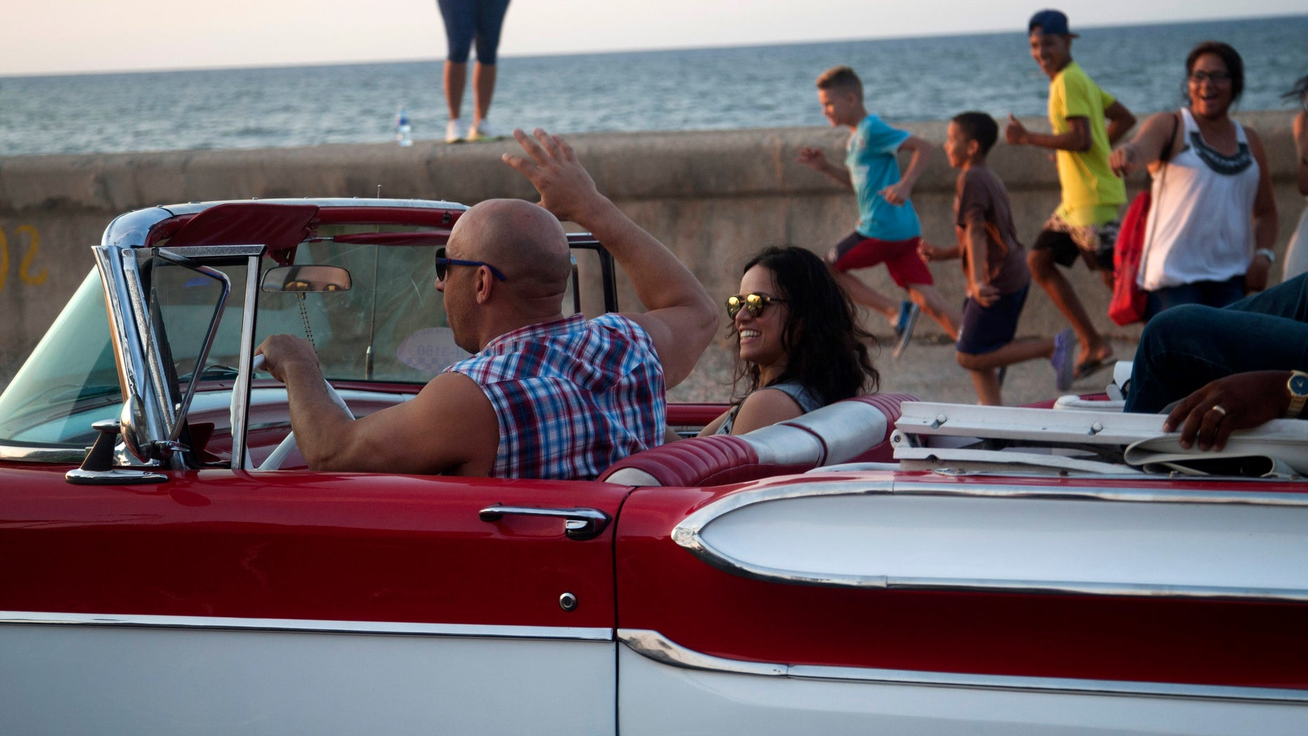Actors Vin Diesel and Michelle Rodriguez on Havana's malecon, Thursday, April 28, 2016.