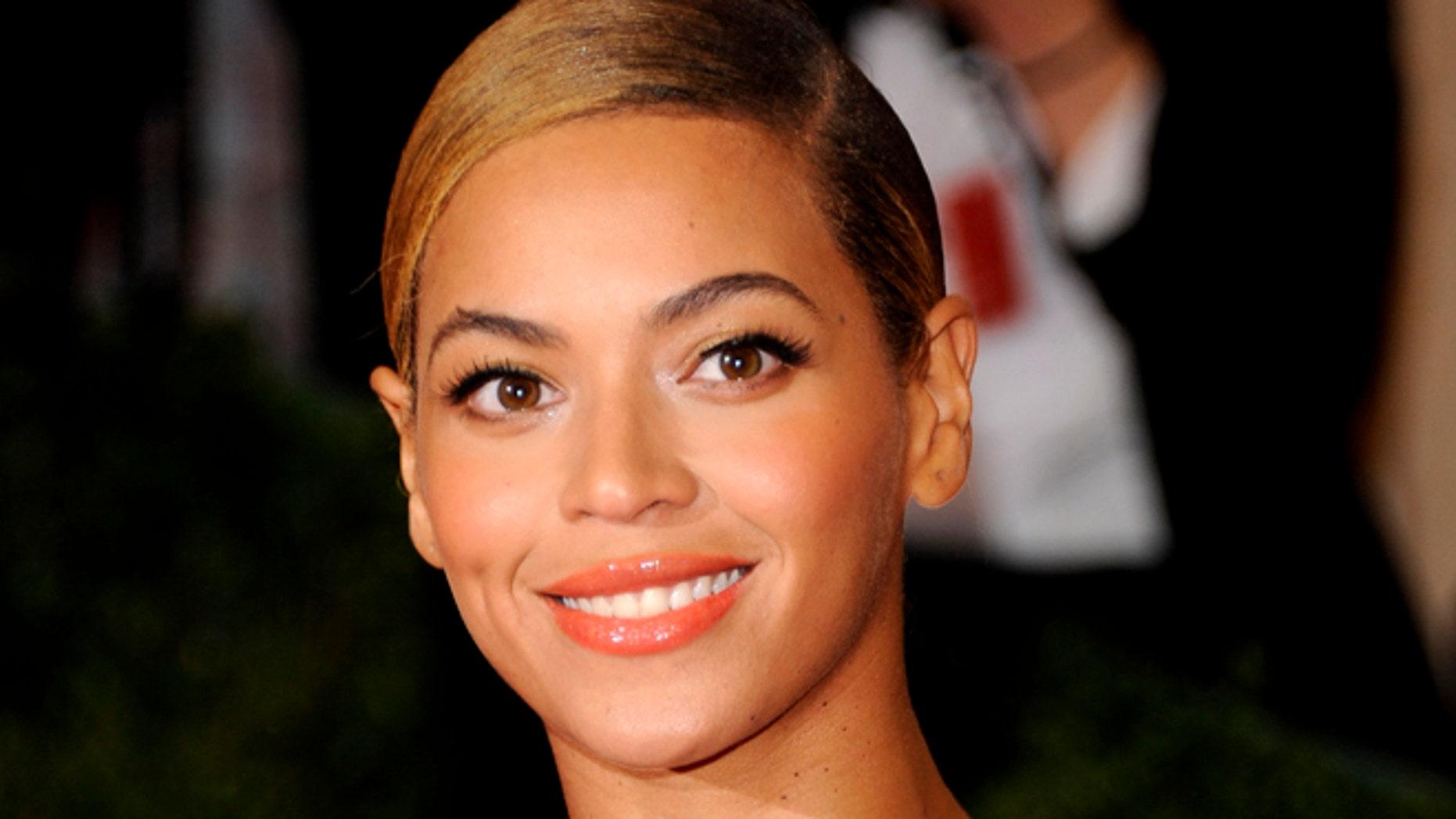 May 7, 2012: This file photo shows Beyonce Knowles at the Metropolitan Museum of Art Costume Institute gala benefit, celebrating Elsa Schiaparelli and Miuccia Prada in New York.