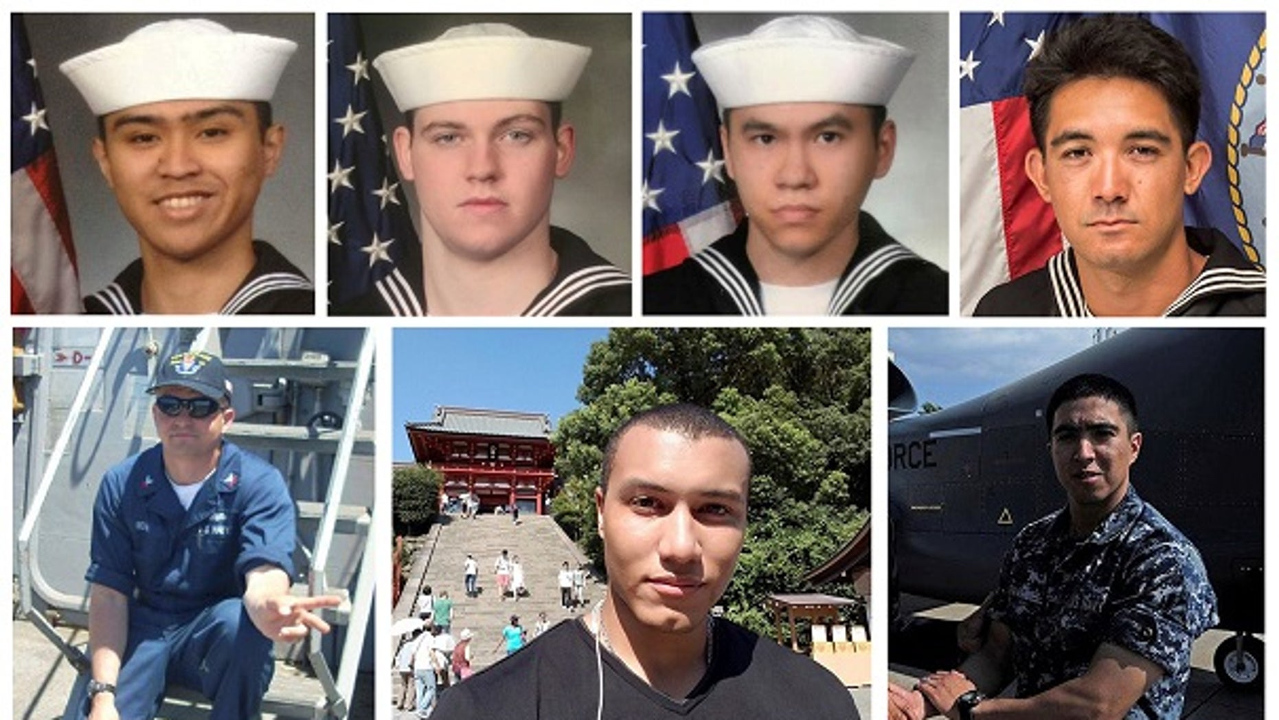 The U.S. Navy paid tribute on Tuesday to seven sailor who were killed when their destroyer collided with a merchant ship off Japan.