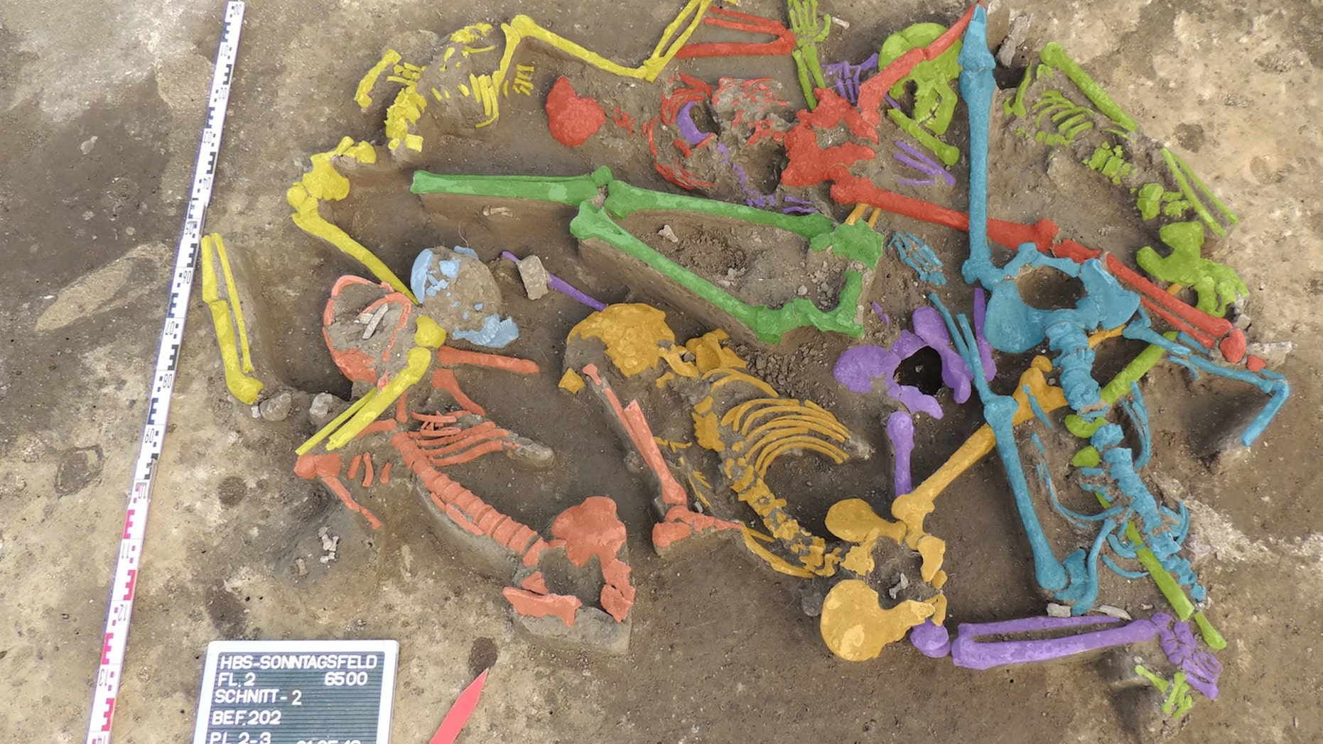 The excavation of the mass grave of Halberstadt revealed the remains of nine bodies, shown here in different colors. Credit: Copyright LDA Sachsen-Anhalt/Christian Meyer