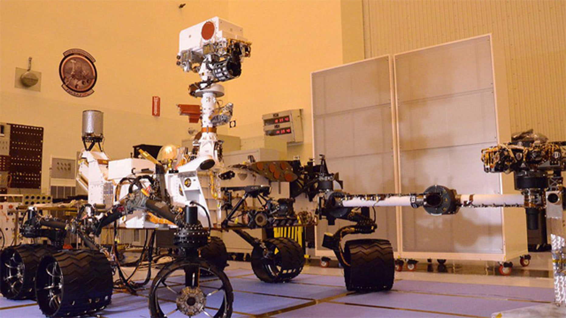 NASA's Curiosity Mars Science Laboratory as seen on Aug. 12, 2011 at the Kennedy Space Center in Florida. The next time the rover will be seen in this configuration is after it lands on Mars.