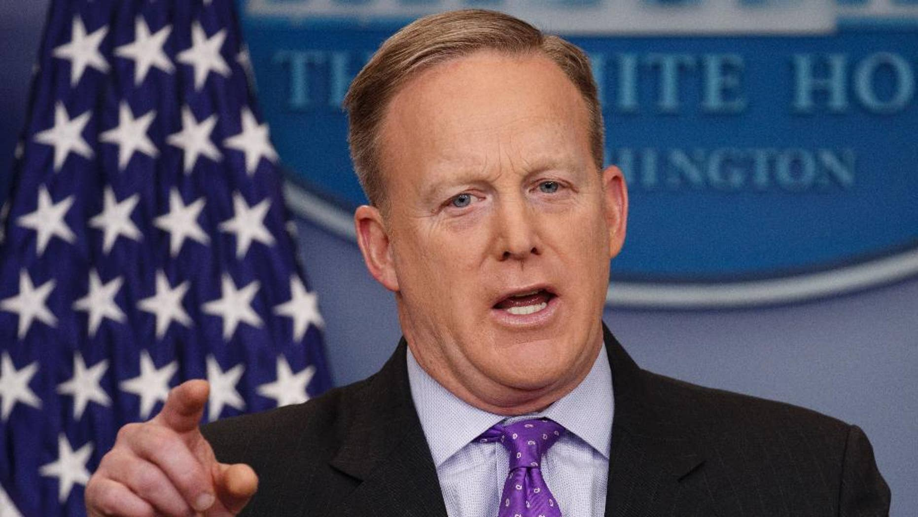 White House press secretary Sean Spicer speaks during the daily press briefing, Wednesday, Feb. 8, 2017, at the White House in Washington. (AP Photo/Evan Vucci)
